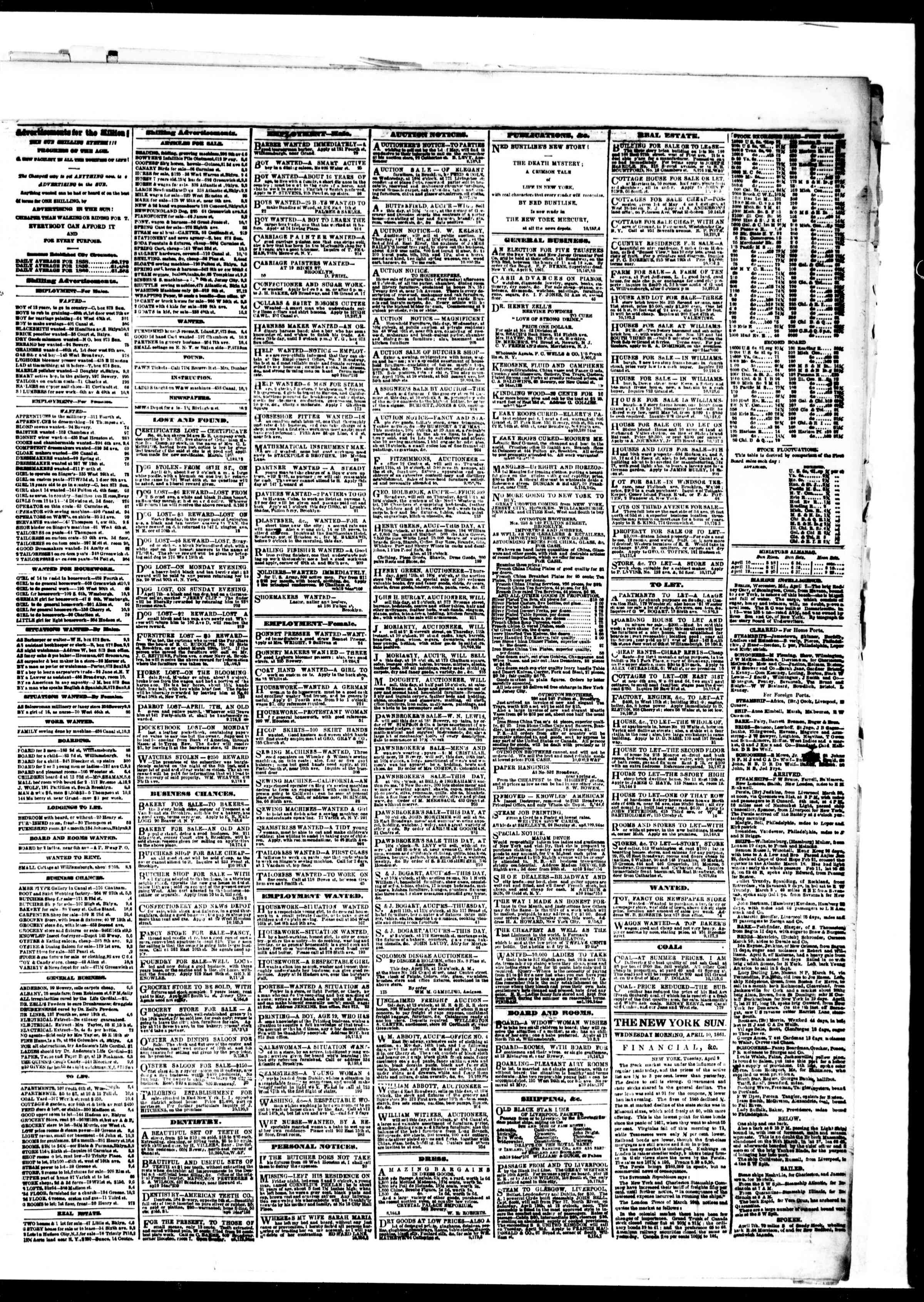 Newspaper of The Sun dated April 10, 1861 Page 3