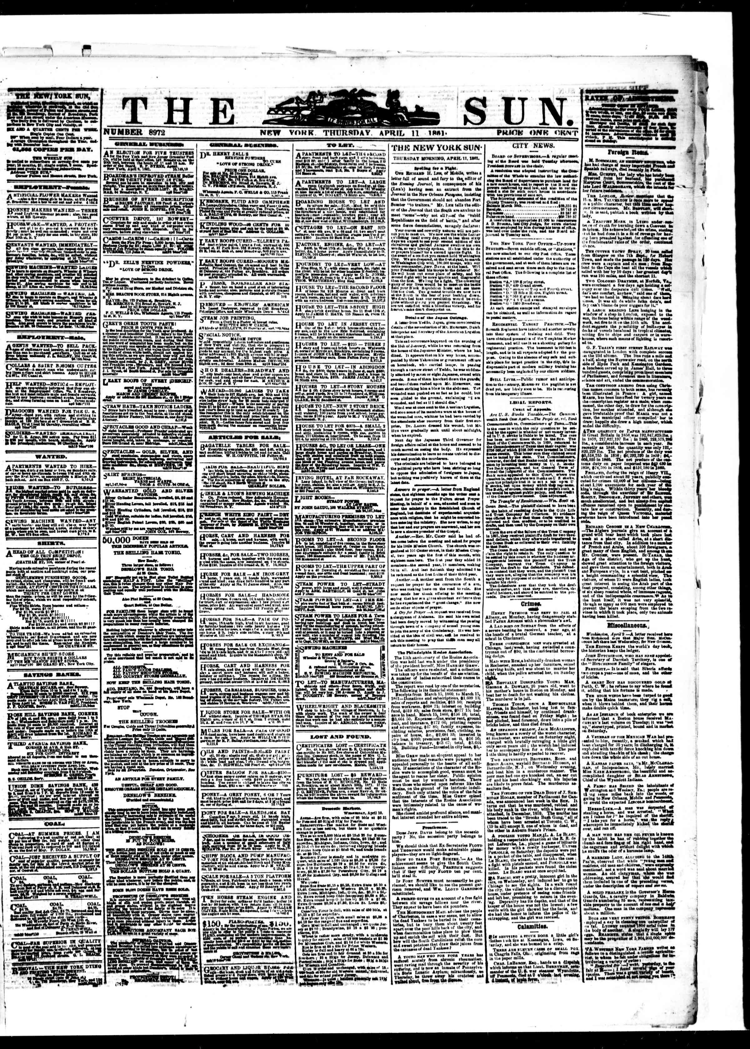 Newspaper of The Sun dated April 11, 1861 Page 1