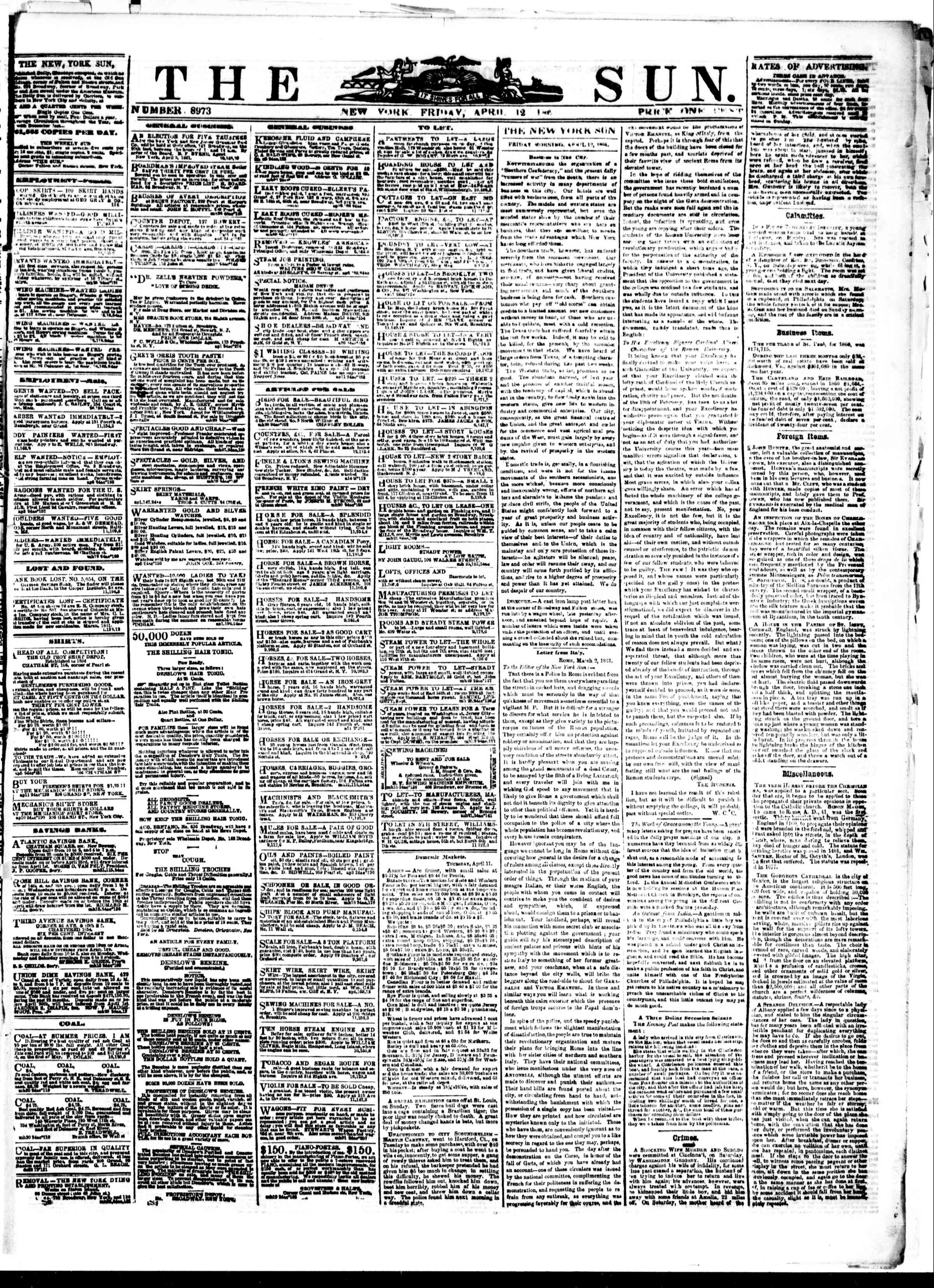 Newspaper of The Sun dated April 12, 1861 Page 1