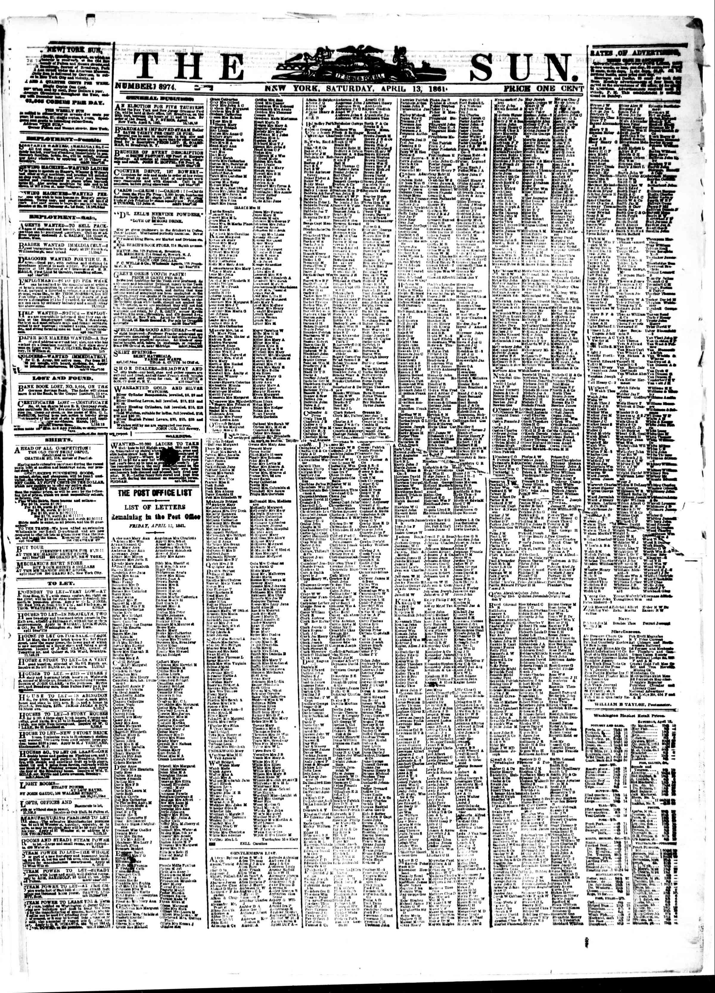 Newspaper of The Sun dated April 13, 1861 Page 1