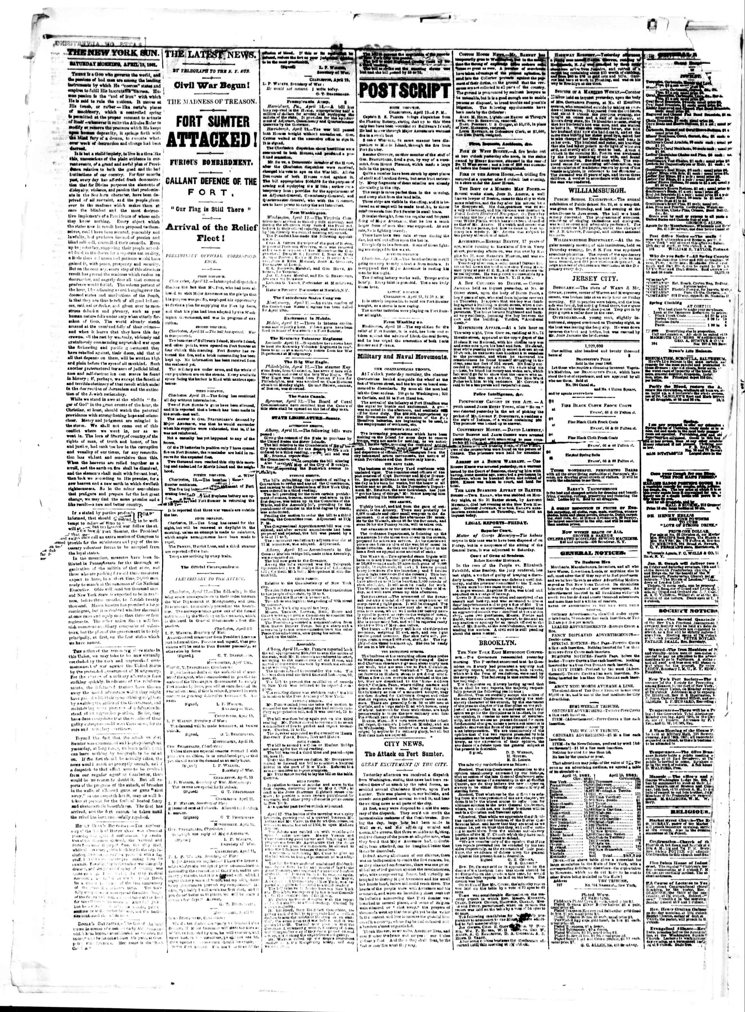Newspaper of The Sun dated April 13, 1861 Page 2