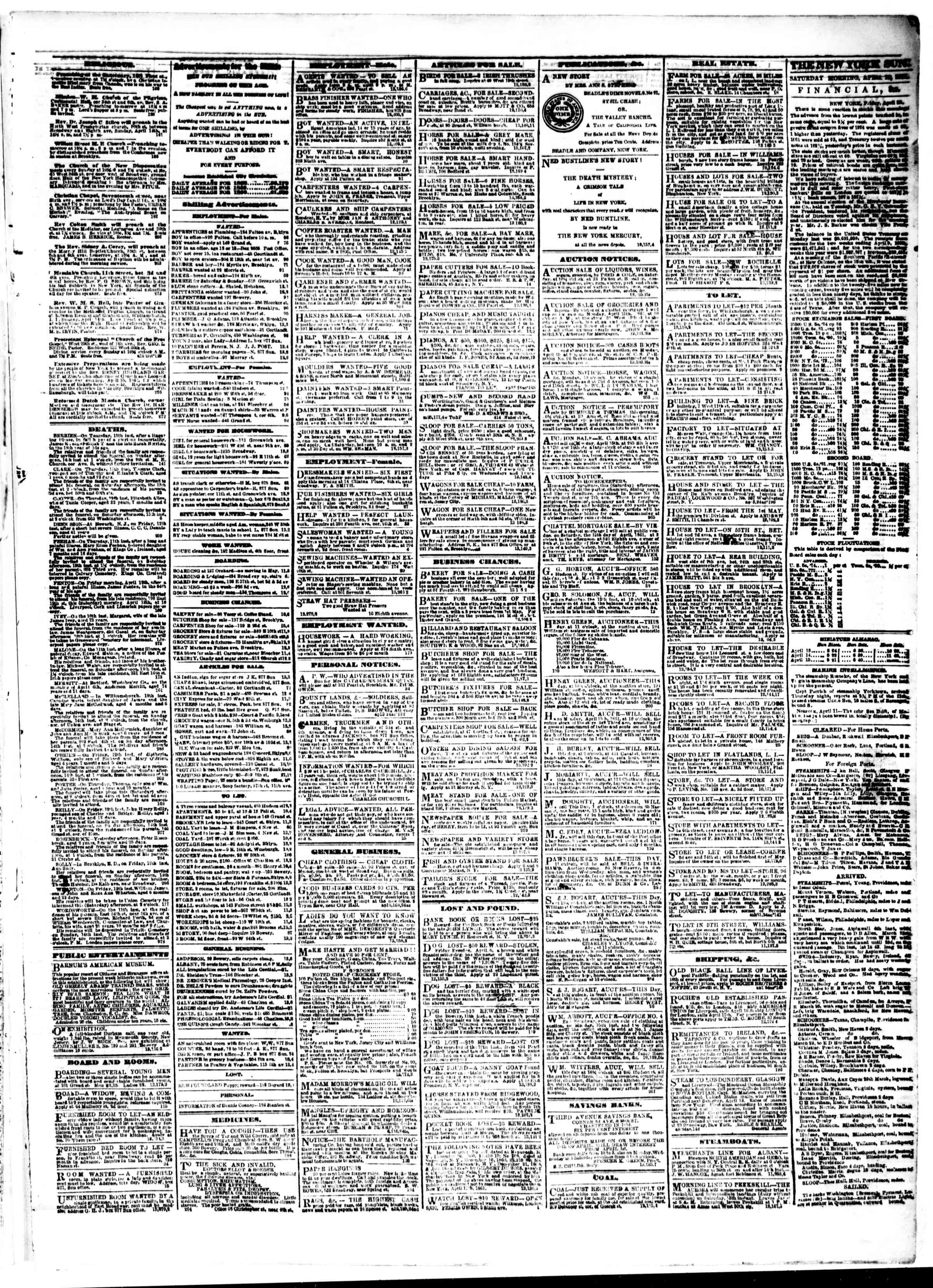 Newspaper of The Sun dated April 13, 1861 Page 3