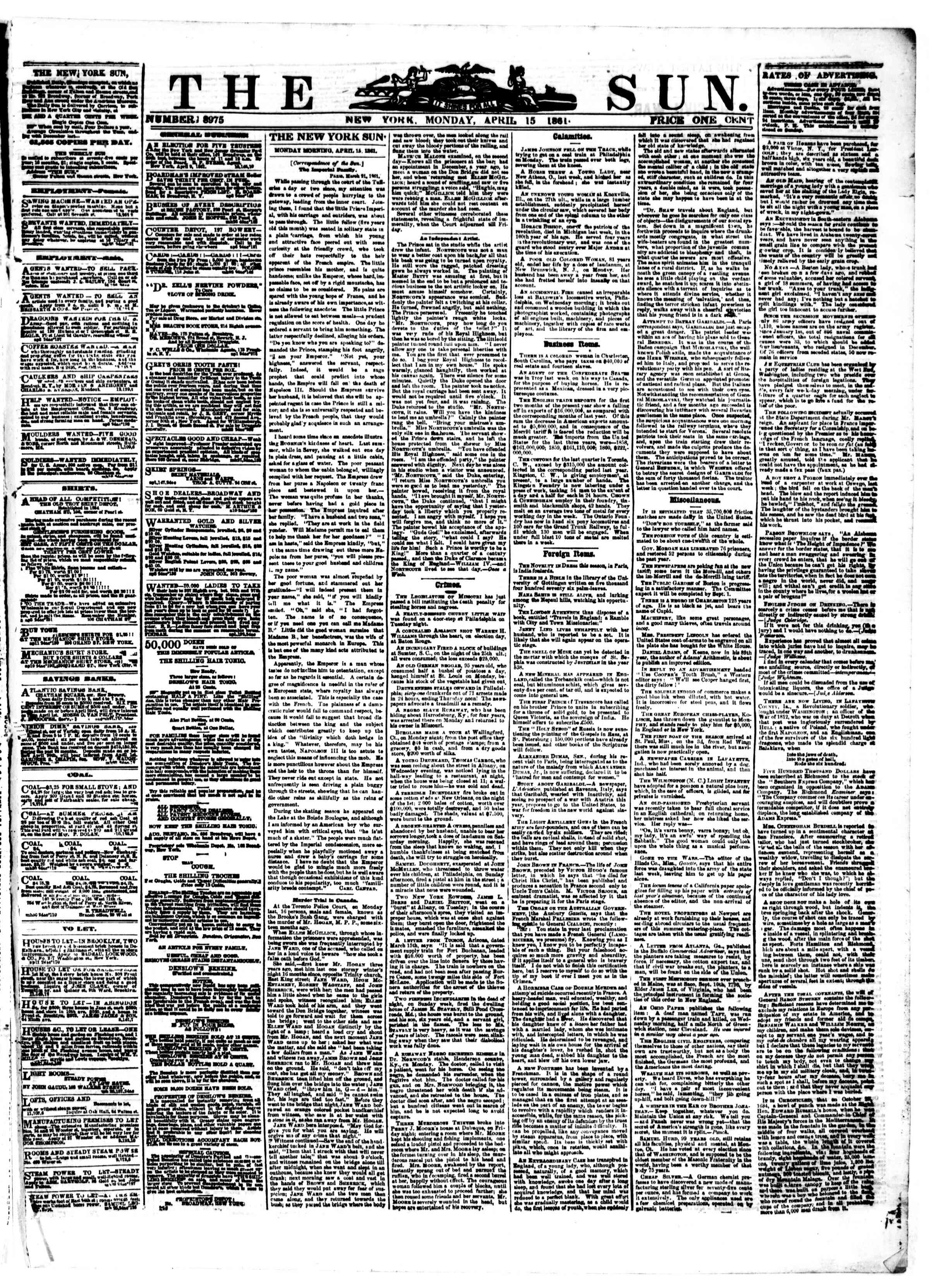 Newspaper of The Sun dated April 15, 1861 Page 1