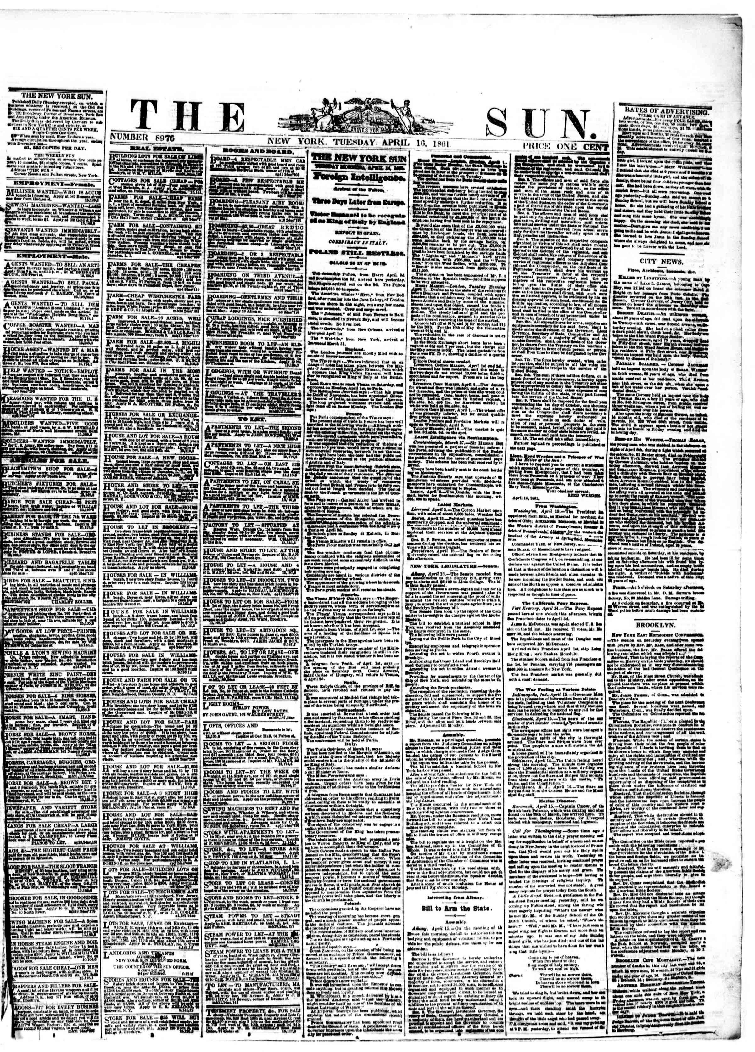 Newspaper of The Sun dated April 16, 1861 Page 1