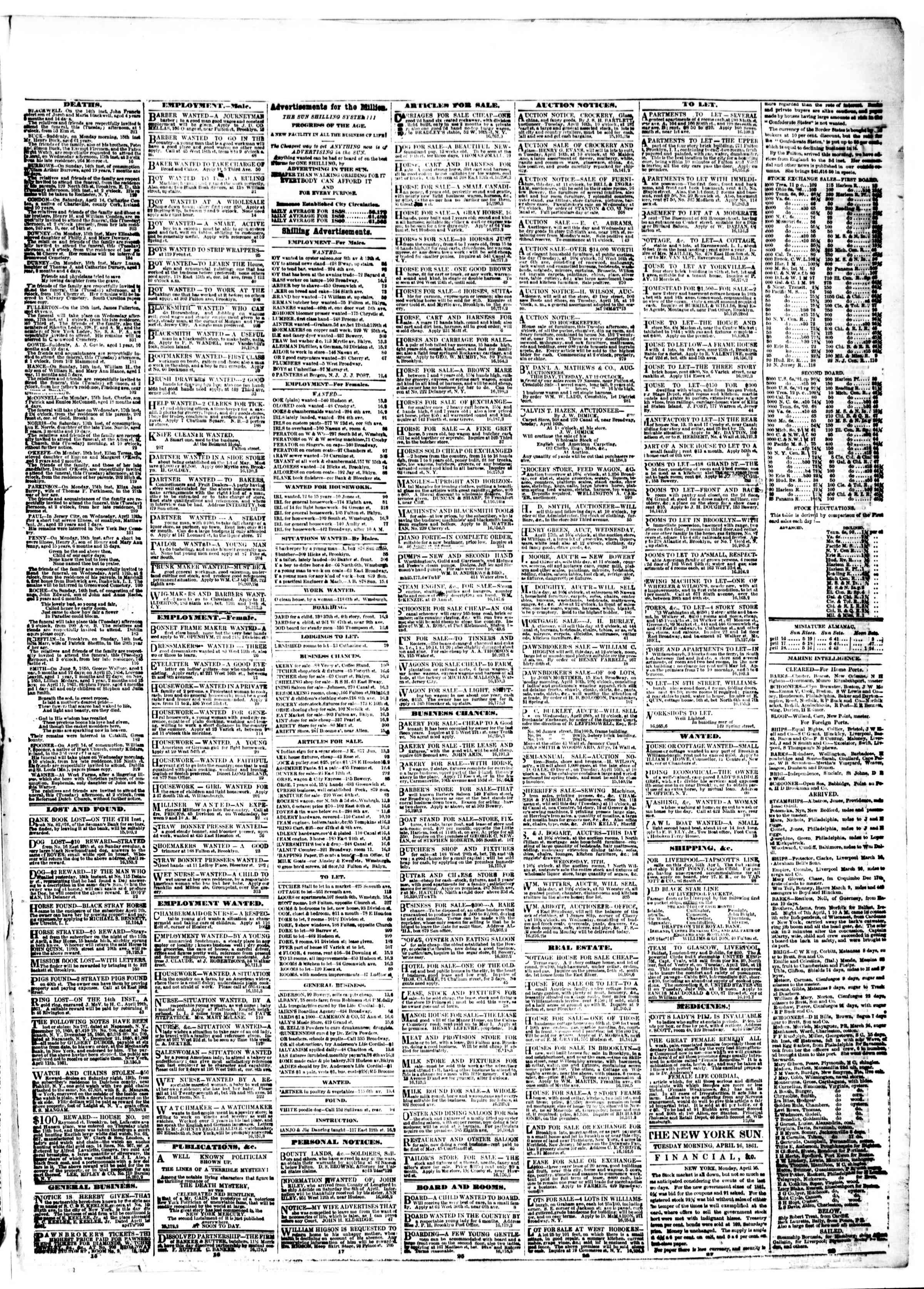 Newspaper of The Sun dated April 16, 1861 Page 3