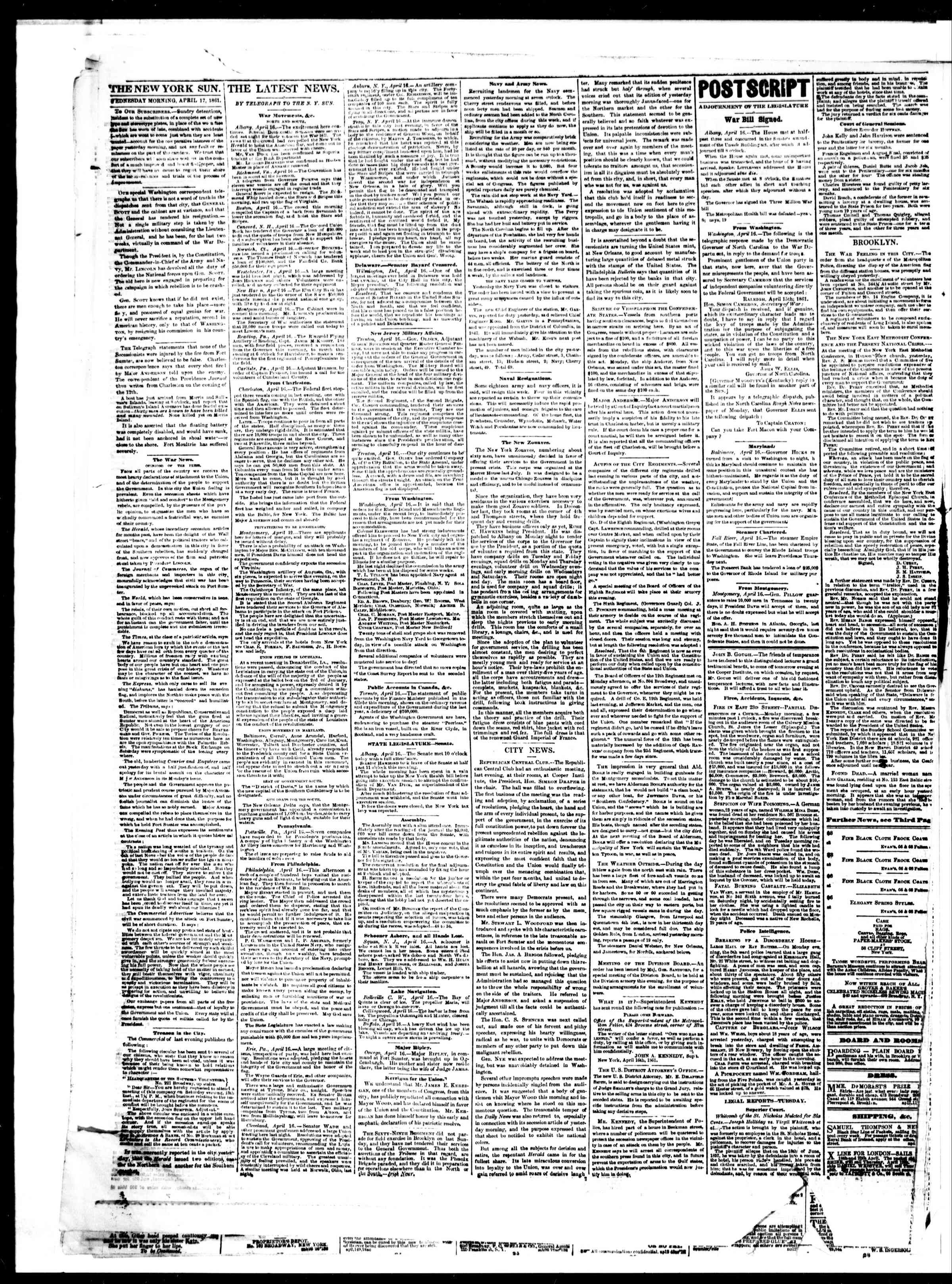 Newspaper of The Sun dated April 17, 1861 Page 2