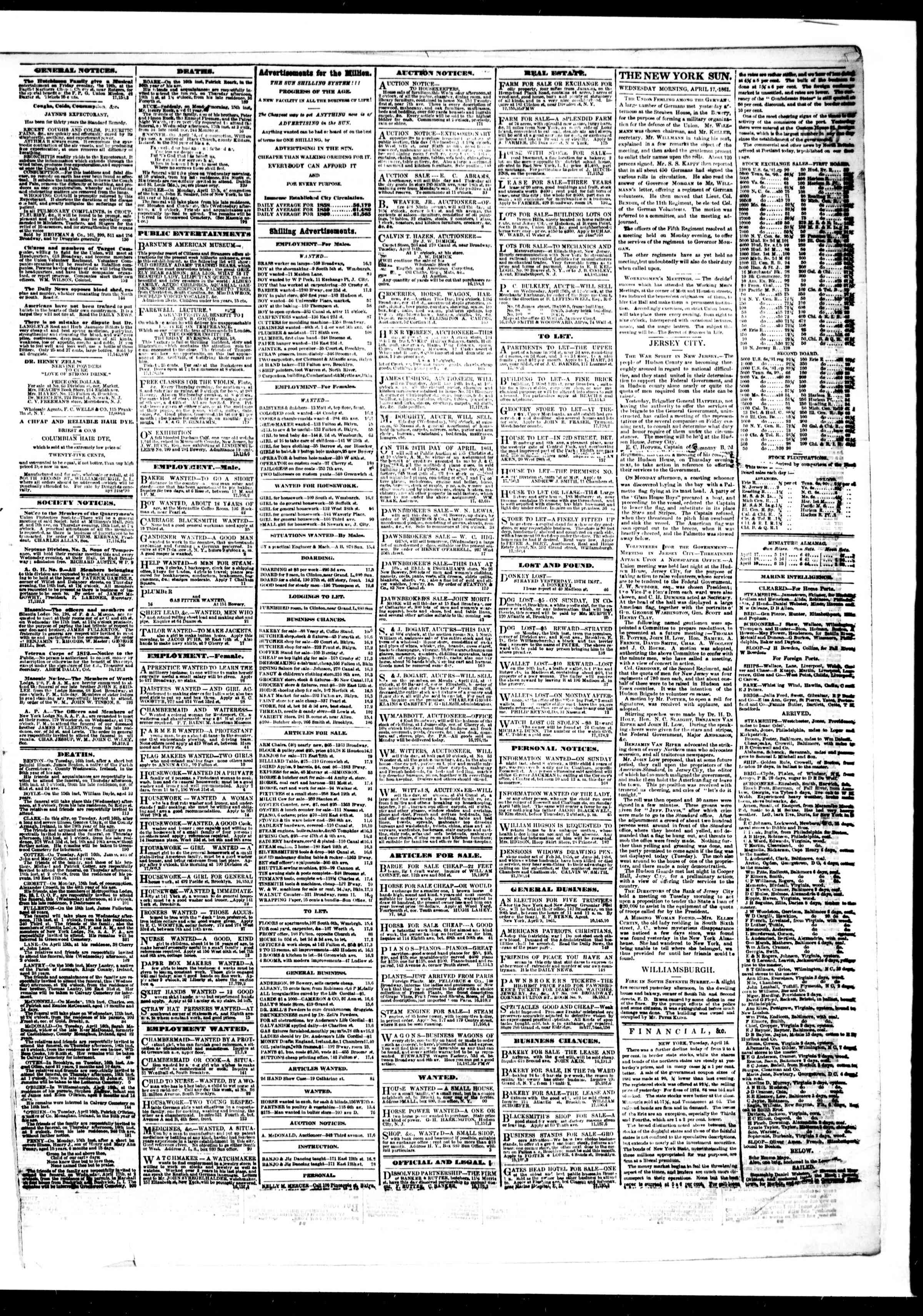 Newspaper of The Sun dated April 17, 1861 Page 3