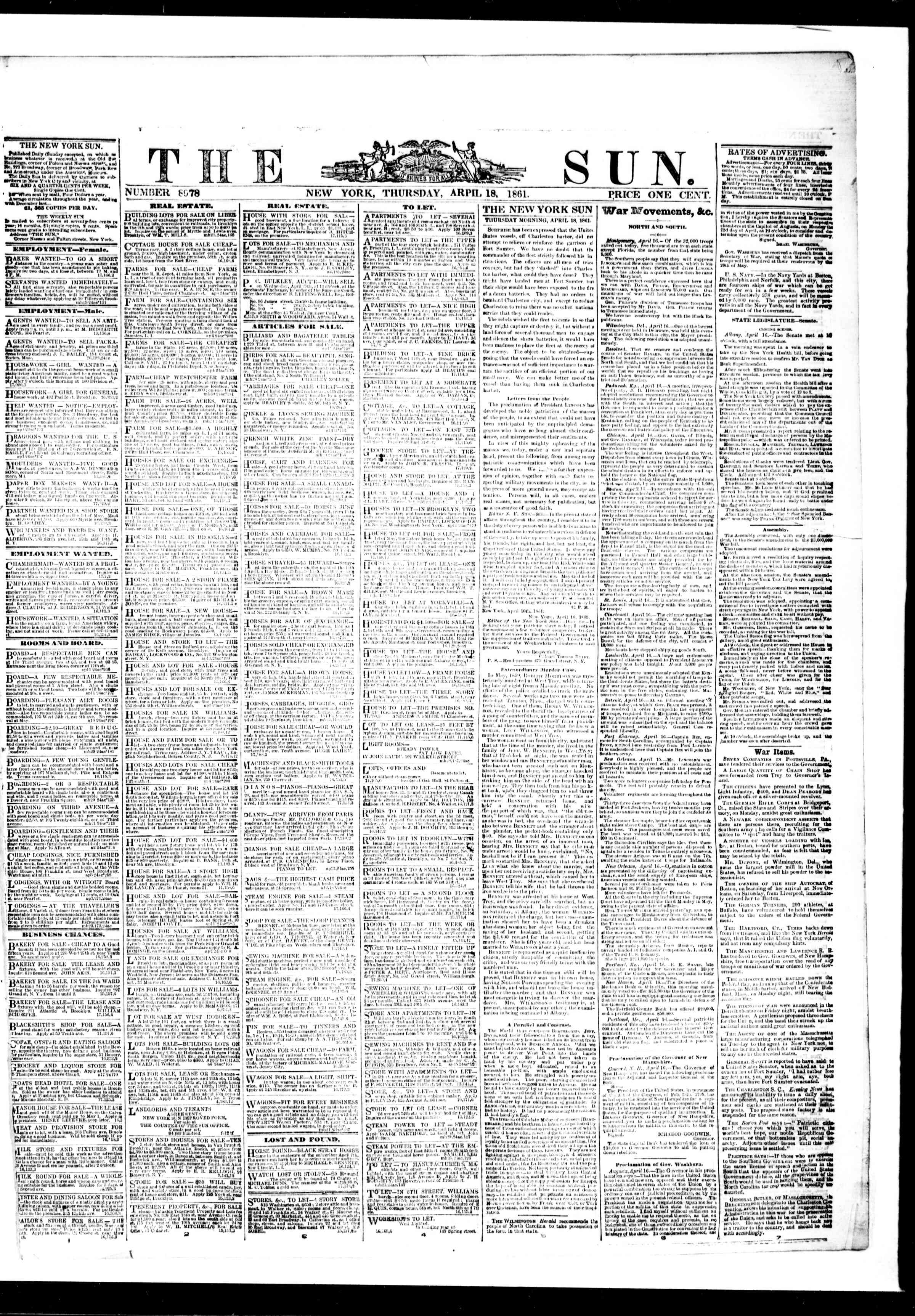 Newspaper of The Sun dated April 18, 1861 Page 1