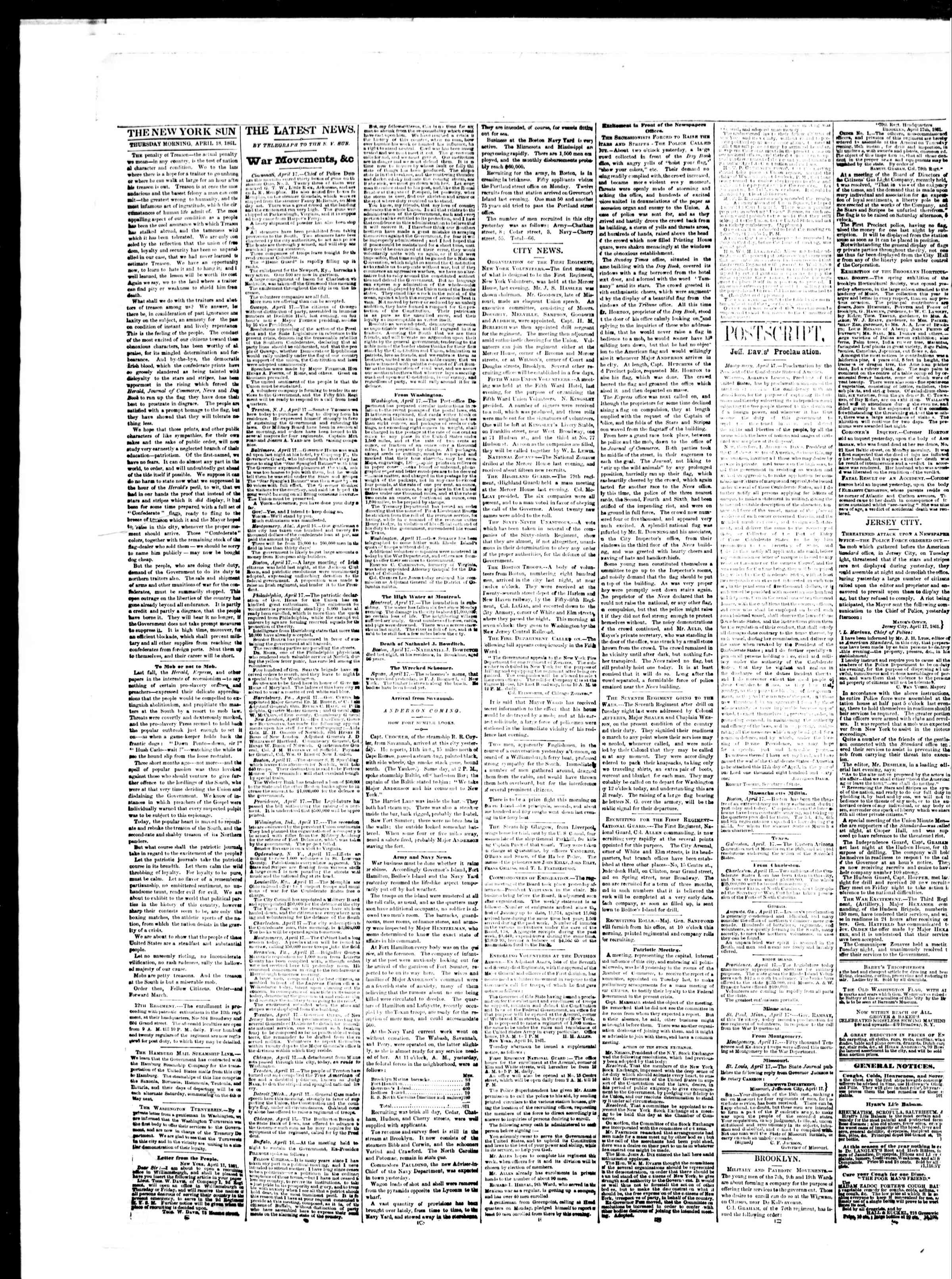Newspaper of The Sun dated April 18, 1861 Page 2