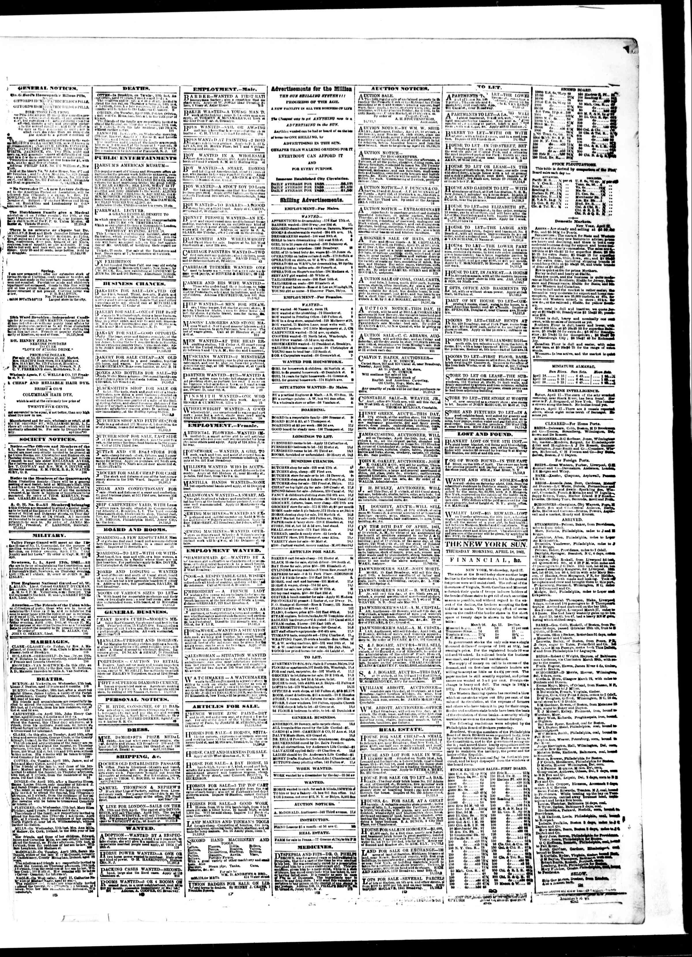 Newspaper of The Sun dated April 18, 1861 Page 3