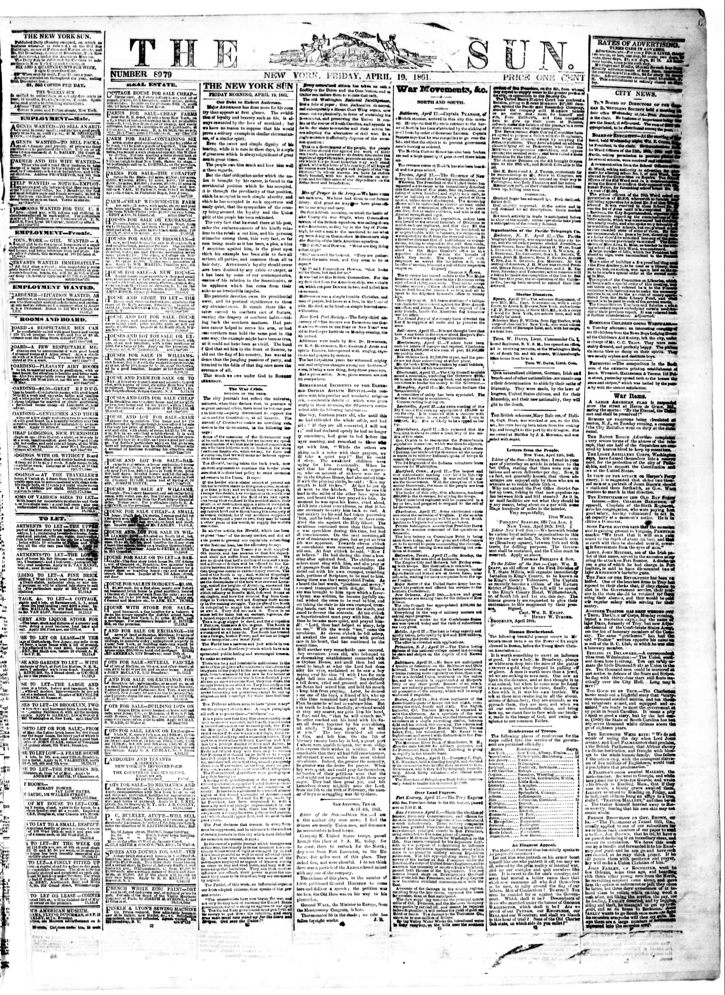 Newspaper of The Sun dated April 19, 1861 Page 1