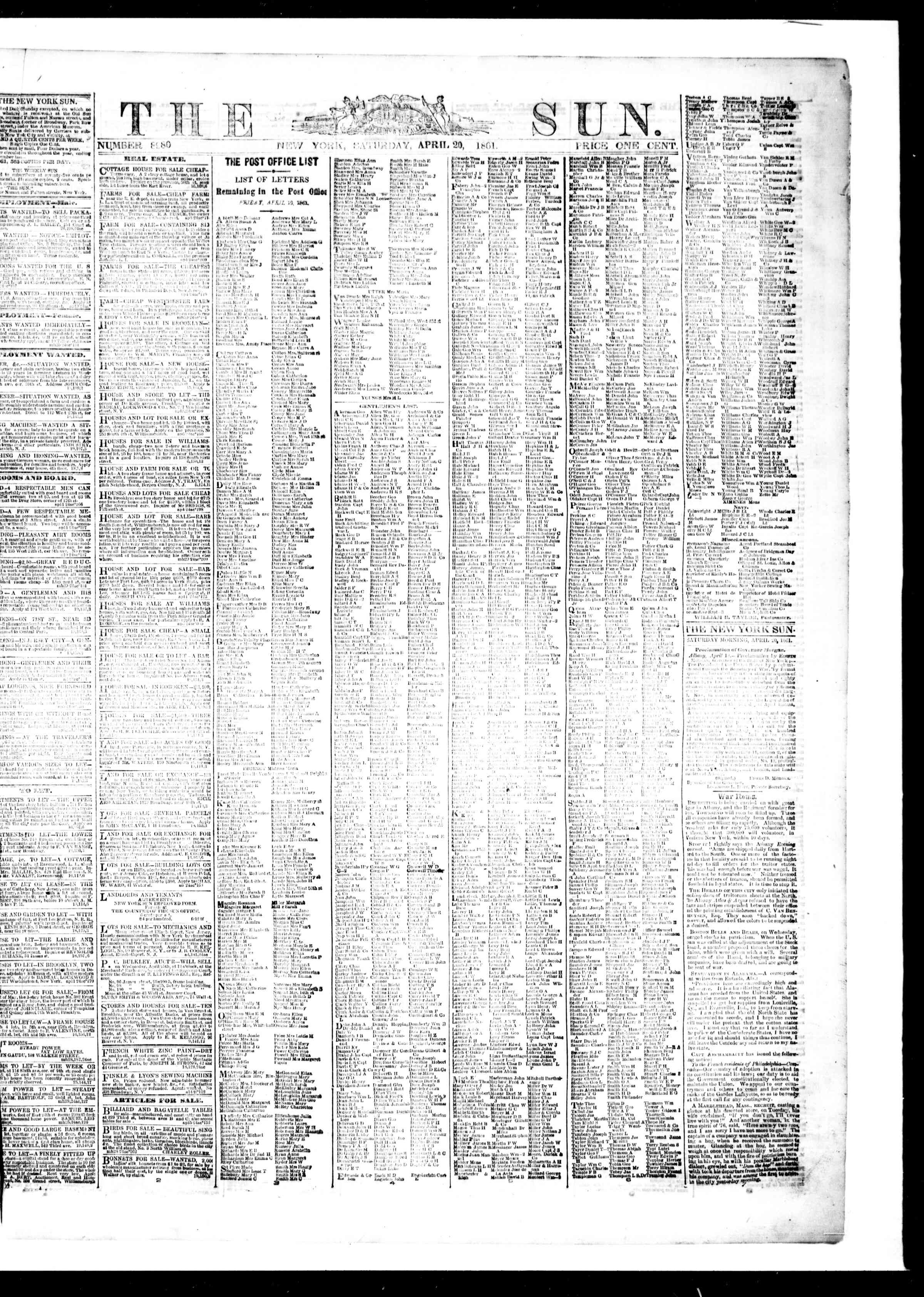 Newspaper of The Sun dated April 20, 1861 Page 1