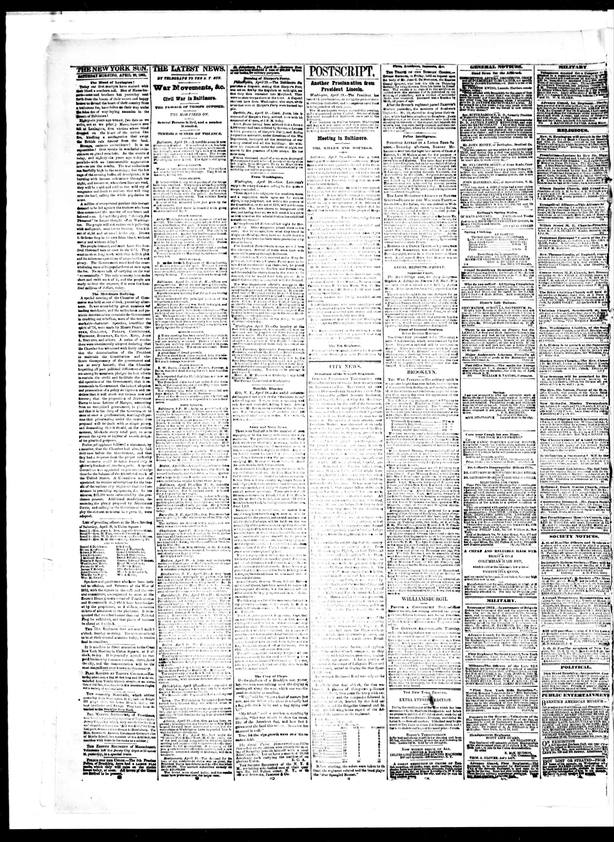 Newspaper of The Sun dated April 20, 1861 Page 2
