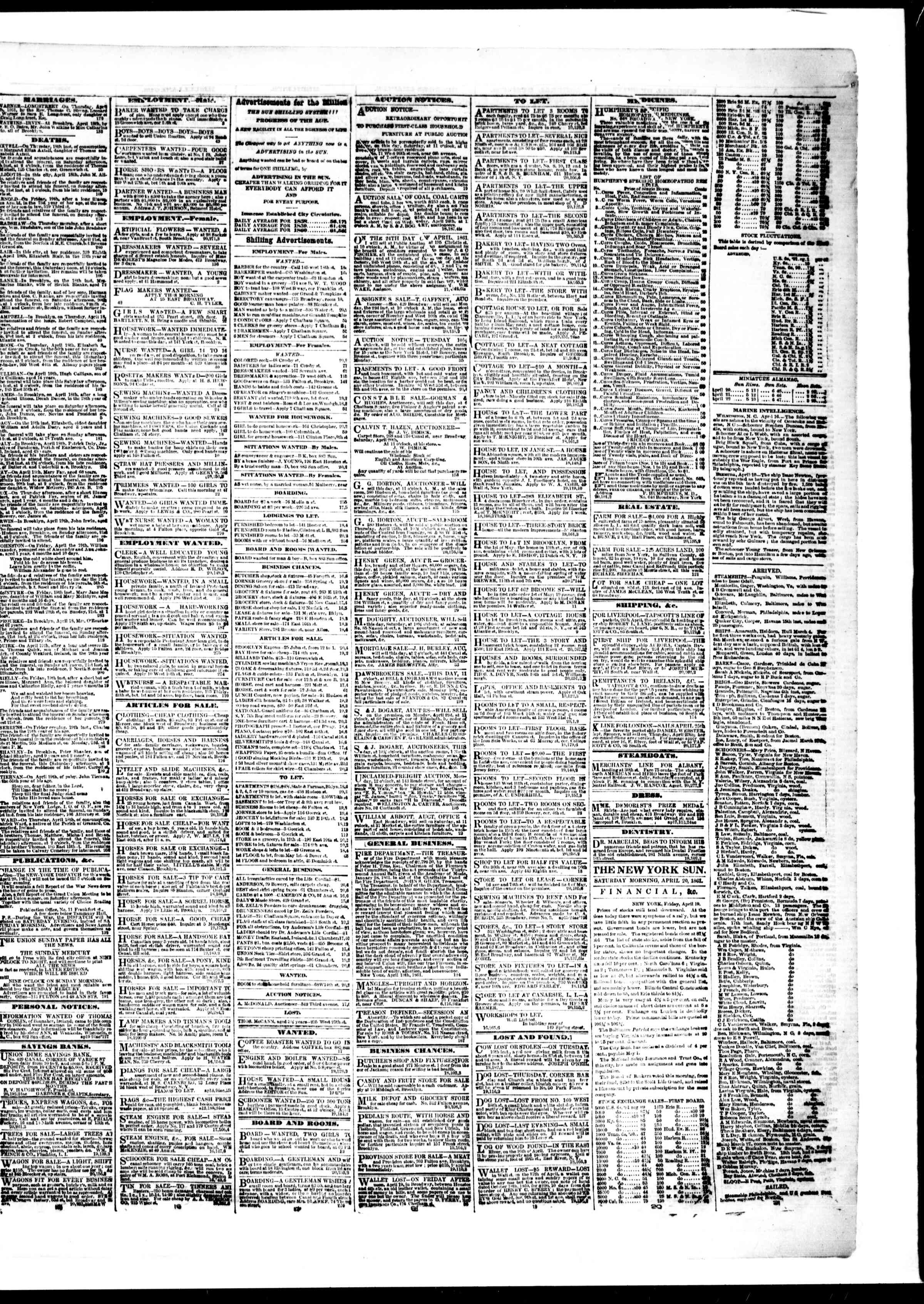 Newspaper of The Sun dated April 20, 1861 Page 3
