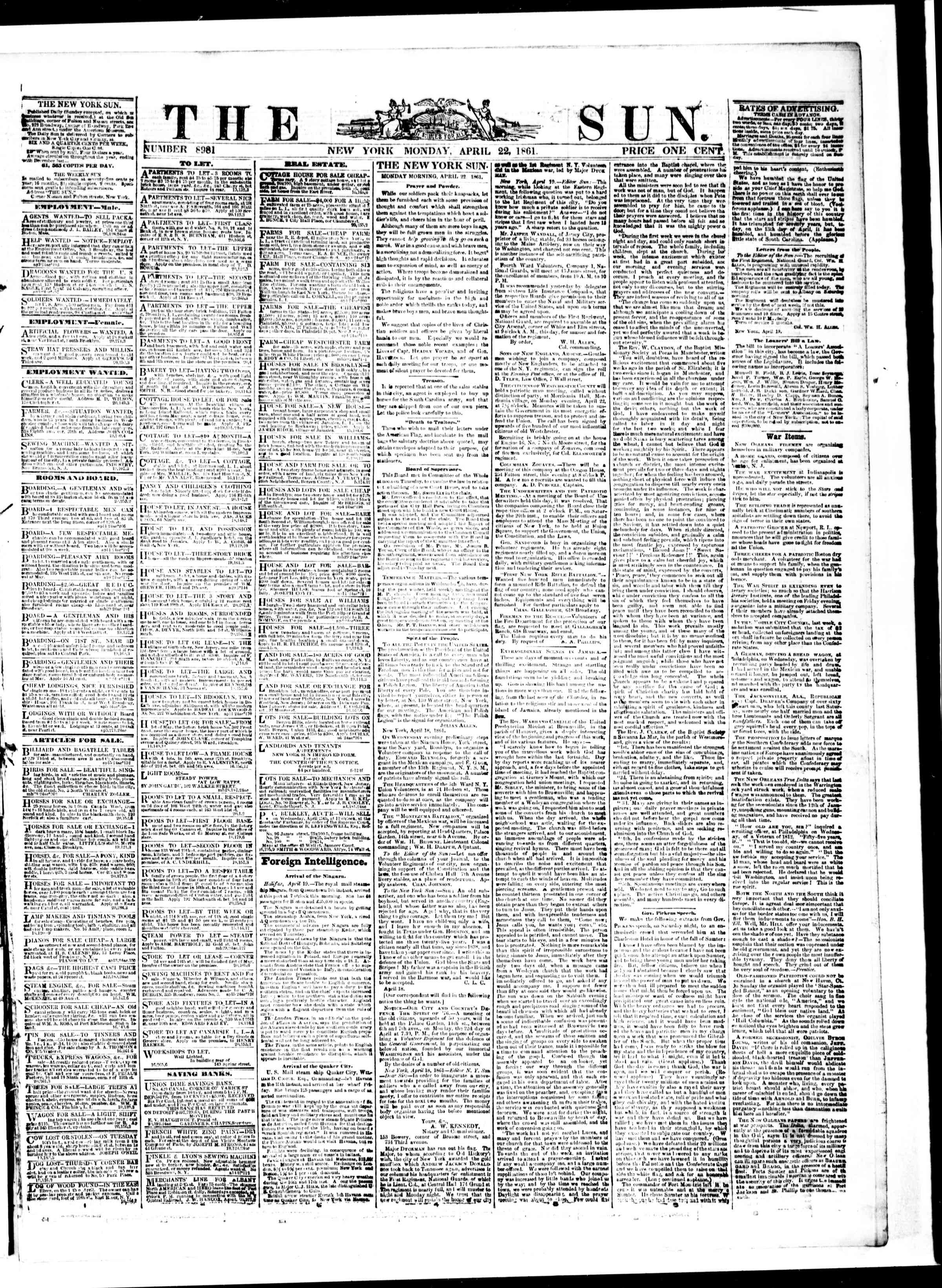 Newspaper of The Sun dated April 22, 1861 Page 1