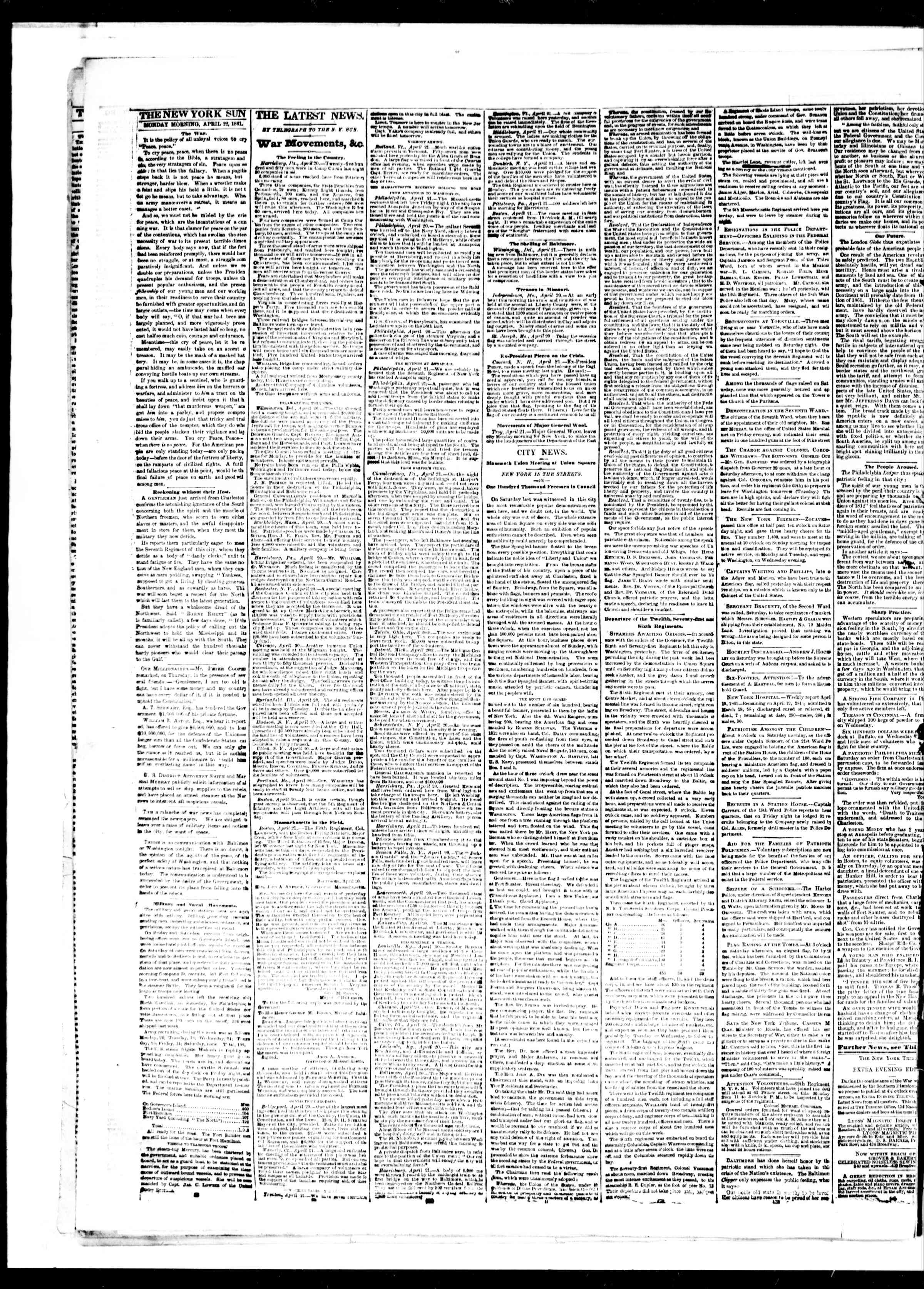 Newspaper of The Sun dated April 22, 1861 Page 2