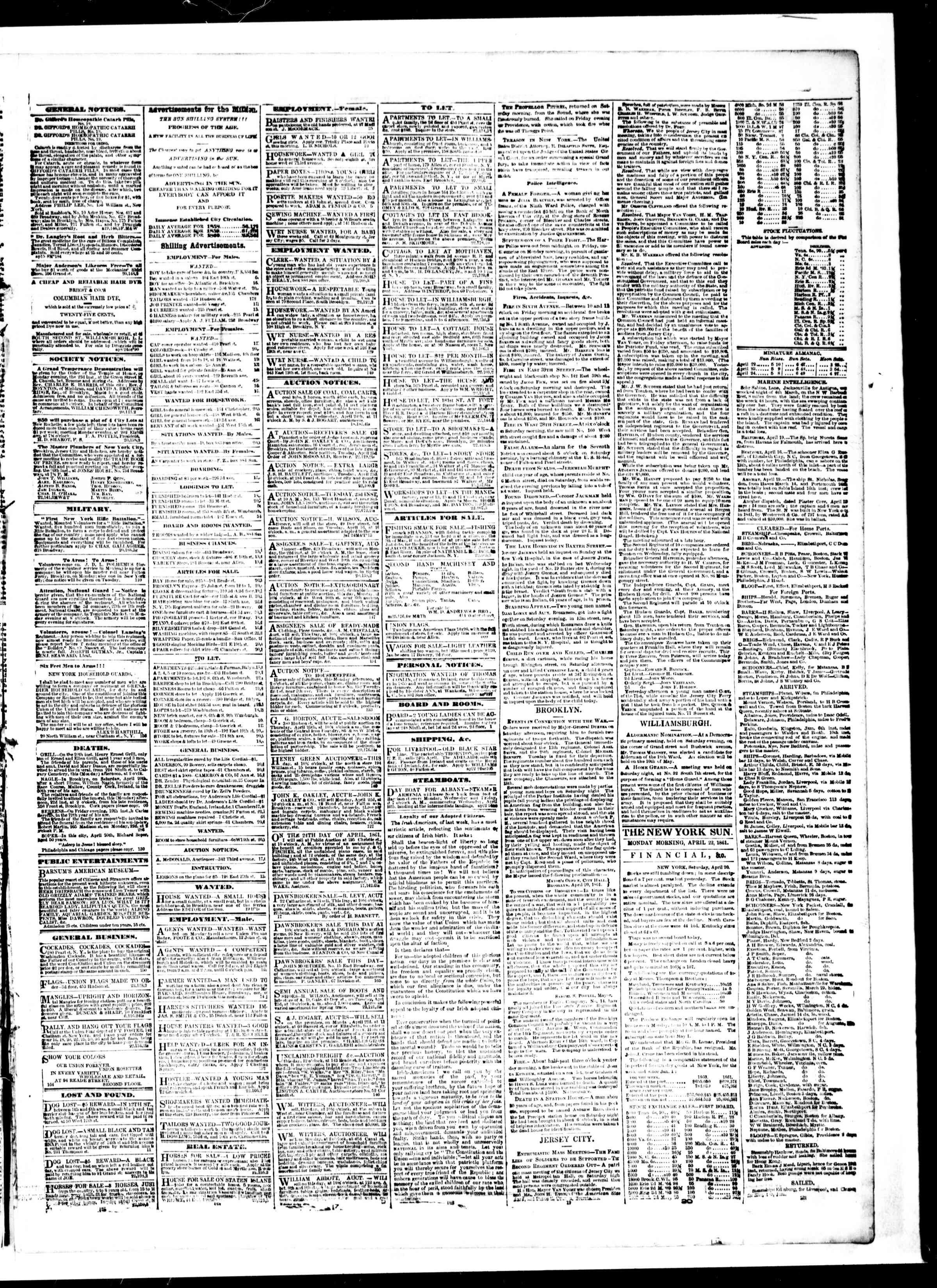 22 Nisan 1861 tarihli The Sun Gazetesi Sayfa 3