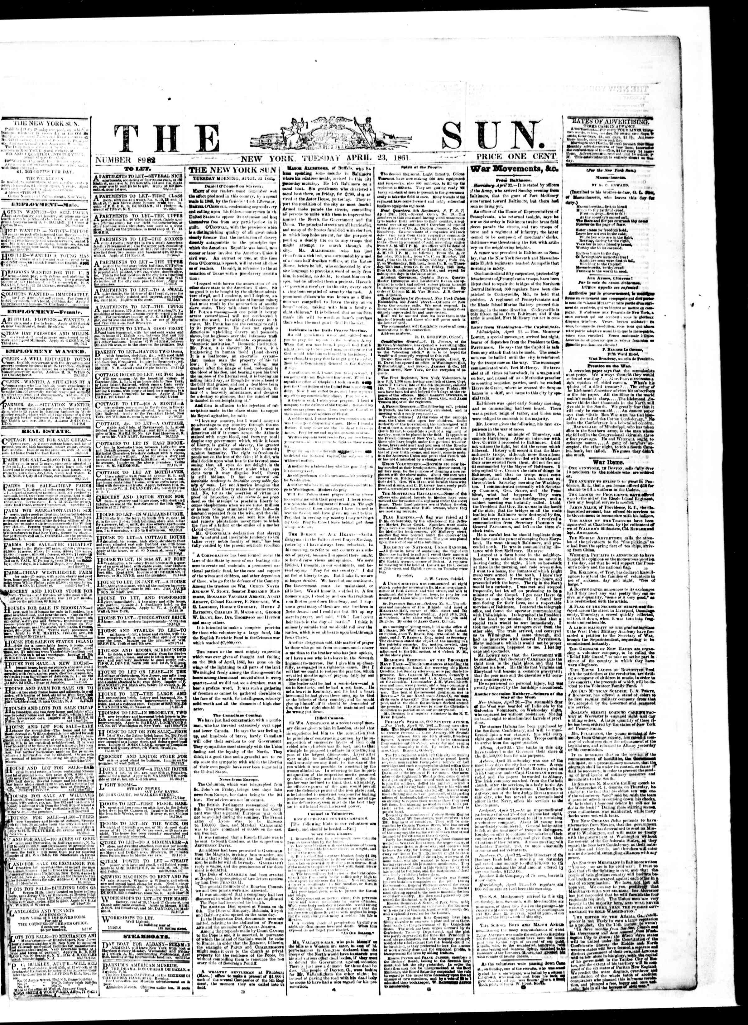 Newspaper of The Sun dated April 23, 1861 Page 1