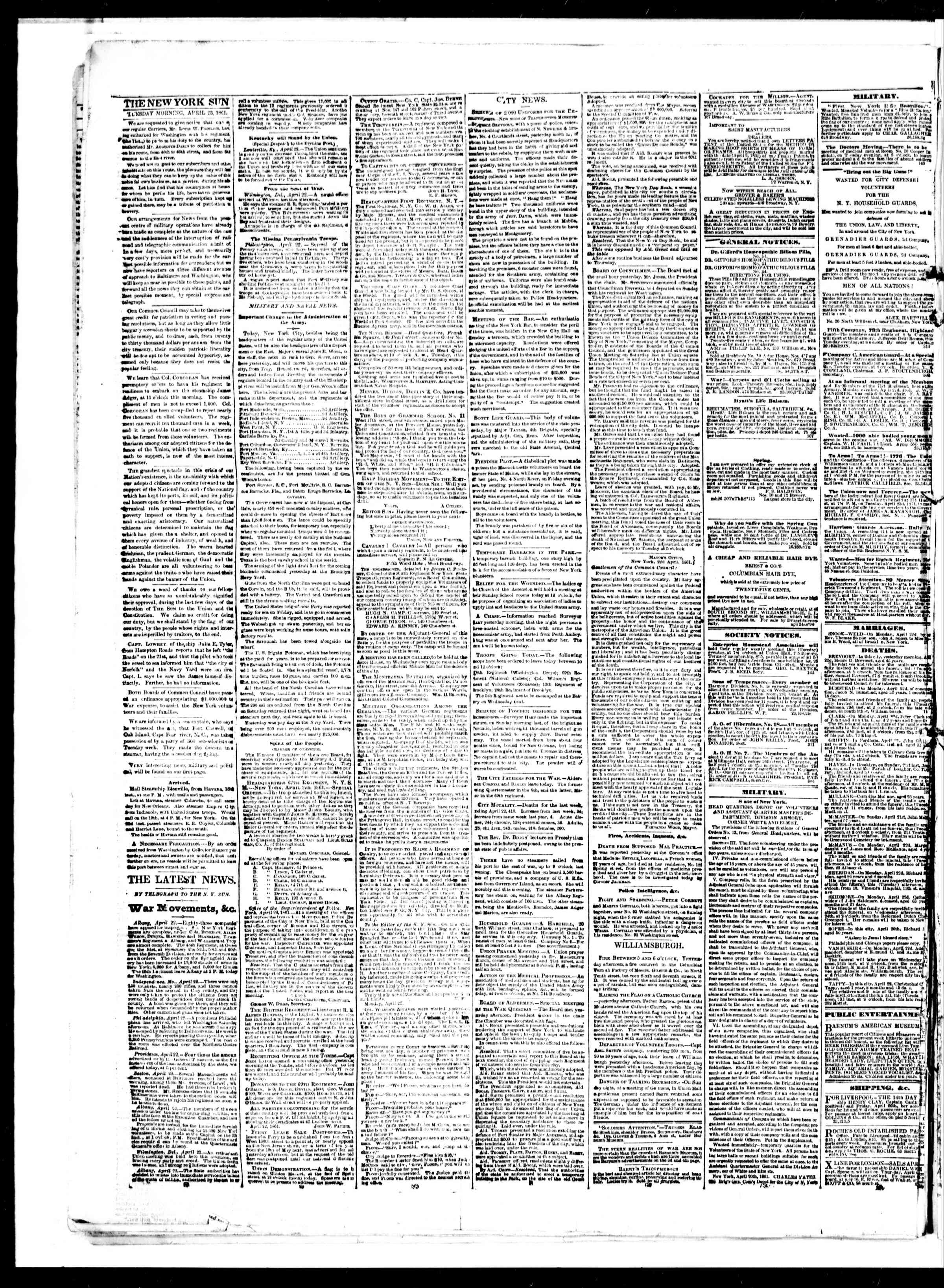 Newspaper of The Sun dated April 23, 1861 Page 2