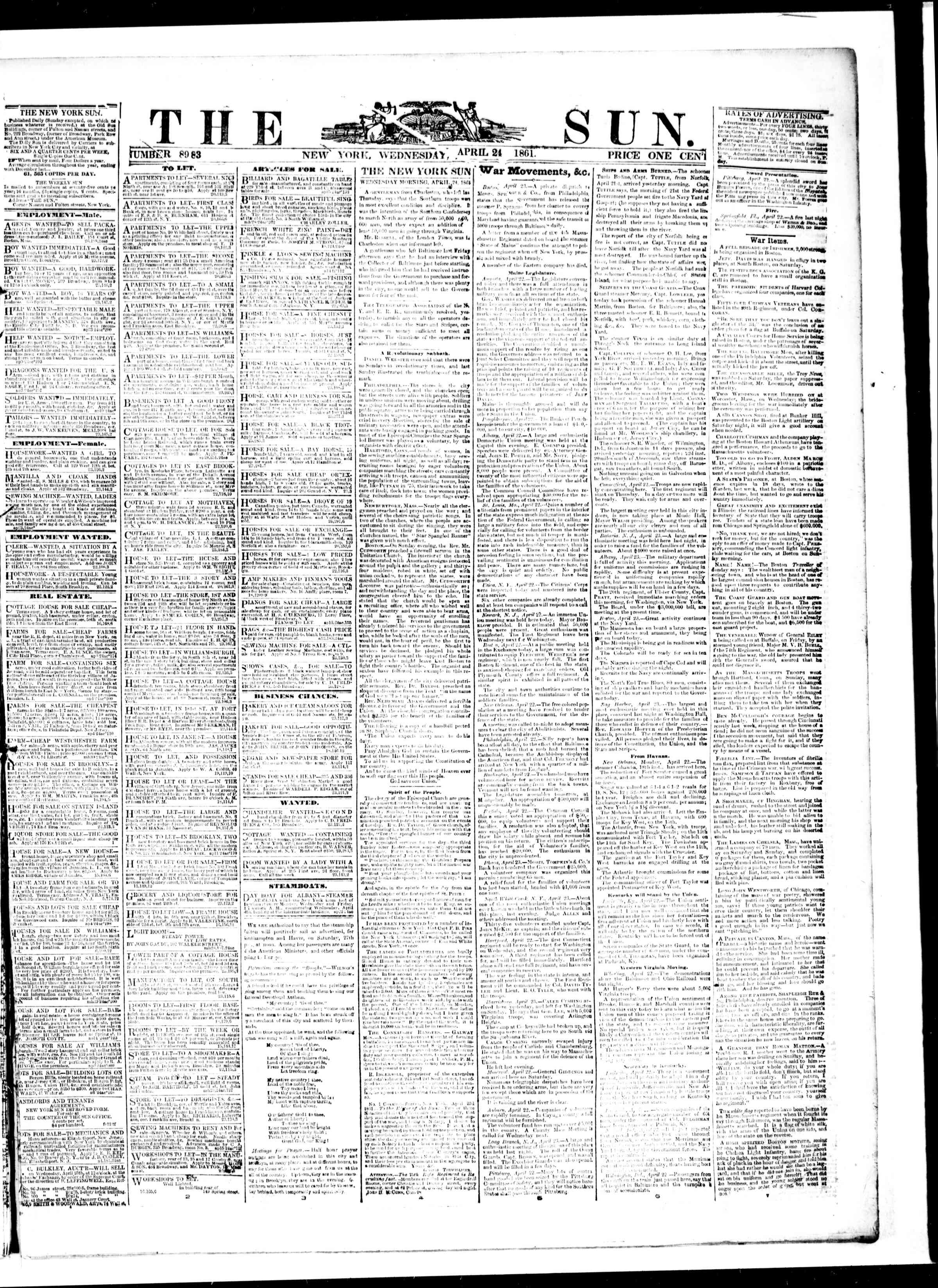 Newspaper of The Sun dated April 24, 1861 Page 1