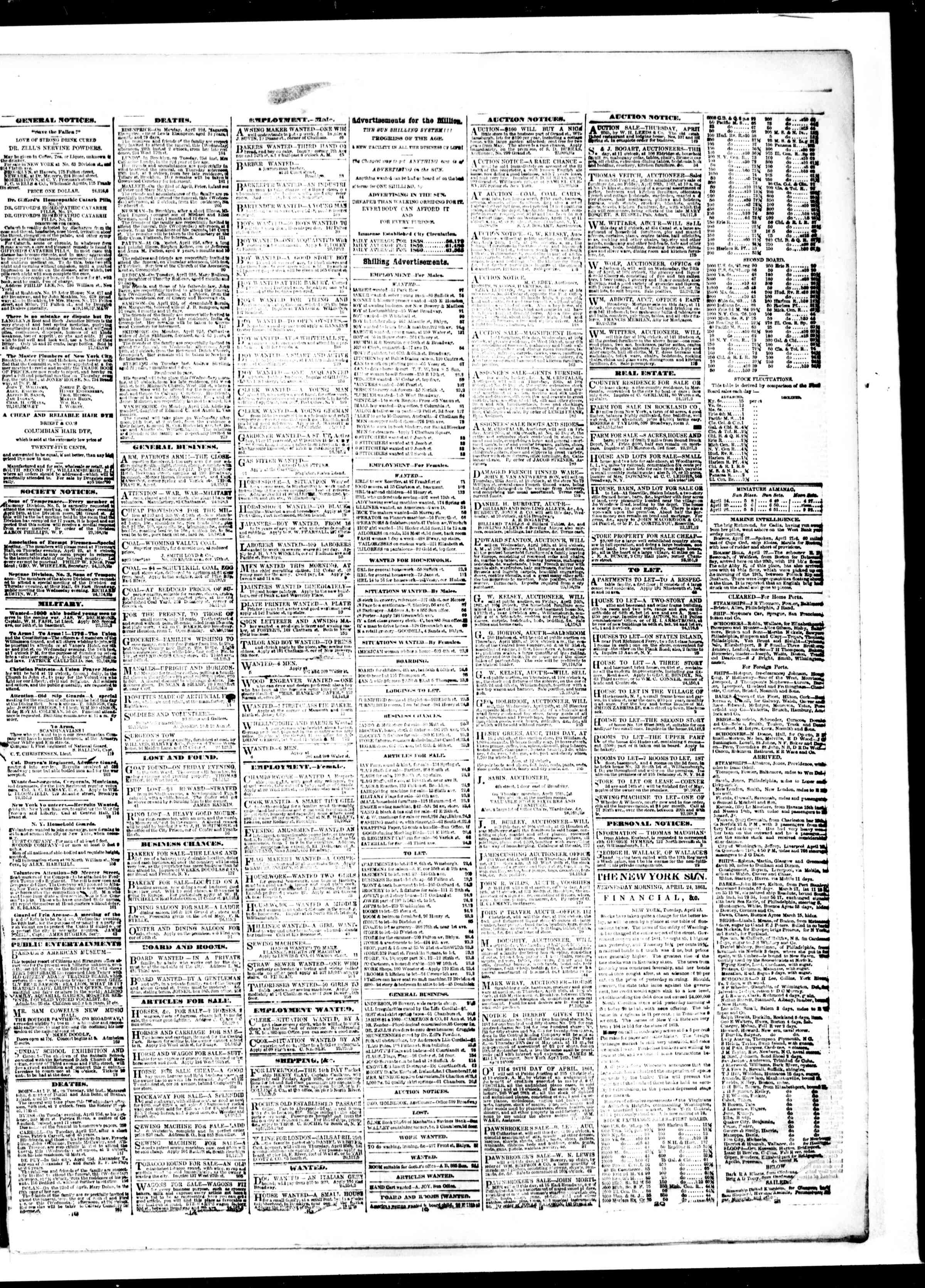 Newspaper of The Sun dated April 24, 1861 Page 3