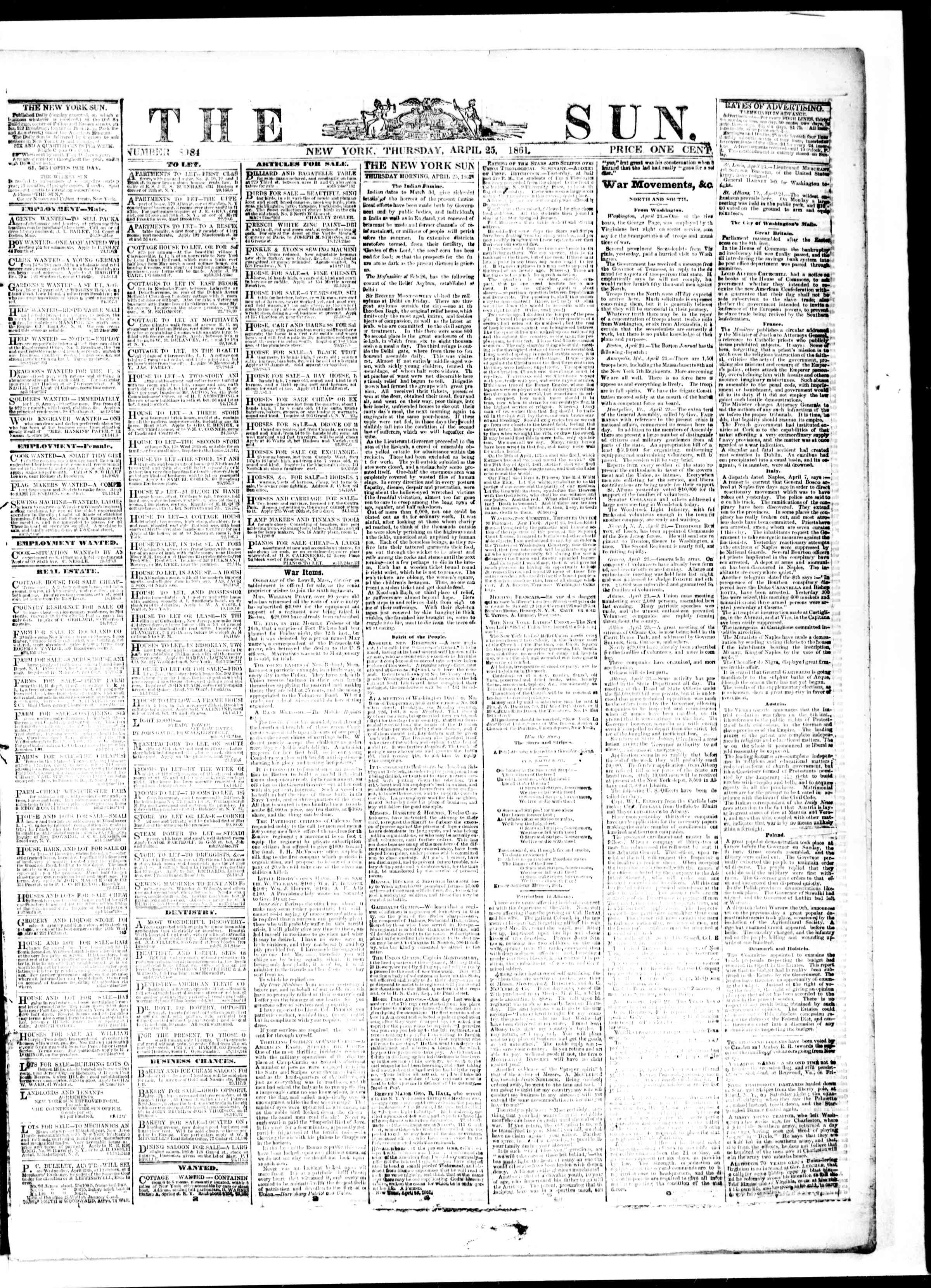 Newspaper of The Sun dated April 25, 1861 Page 1