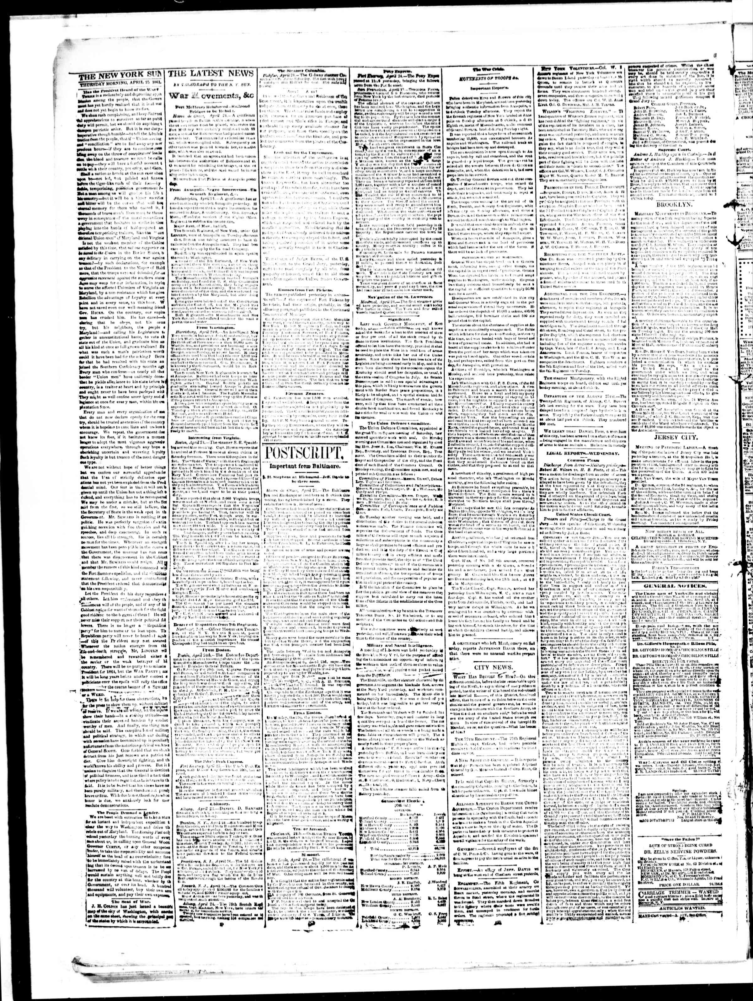 Newspaper of The Sun dated April 25, 1861 Page 2