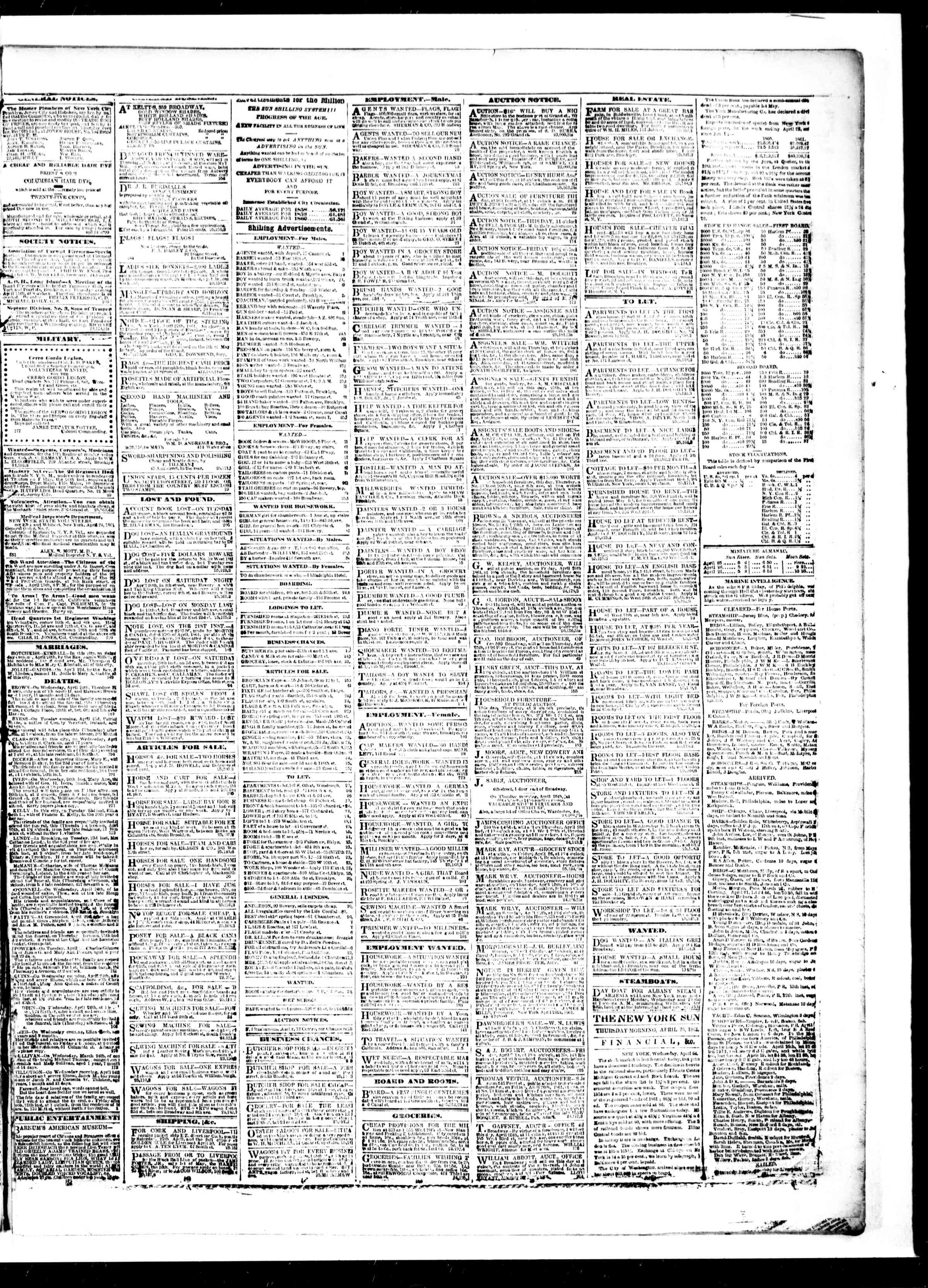 Newspaper of The Sun dated April 25, 1861 Page 3