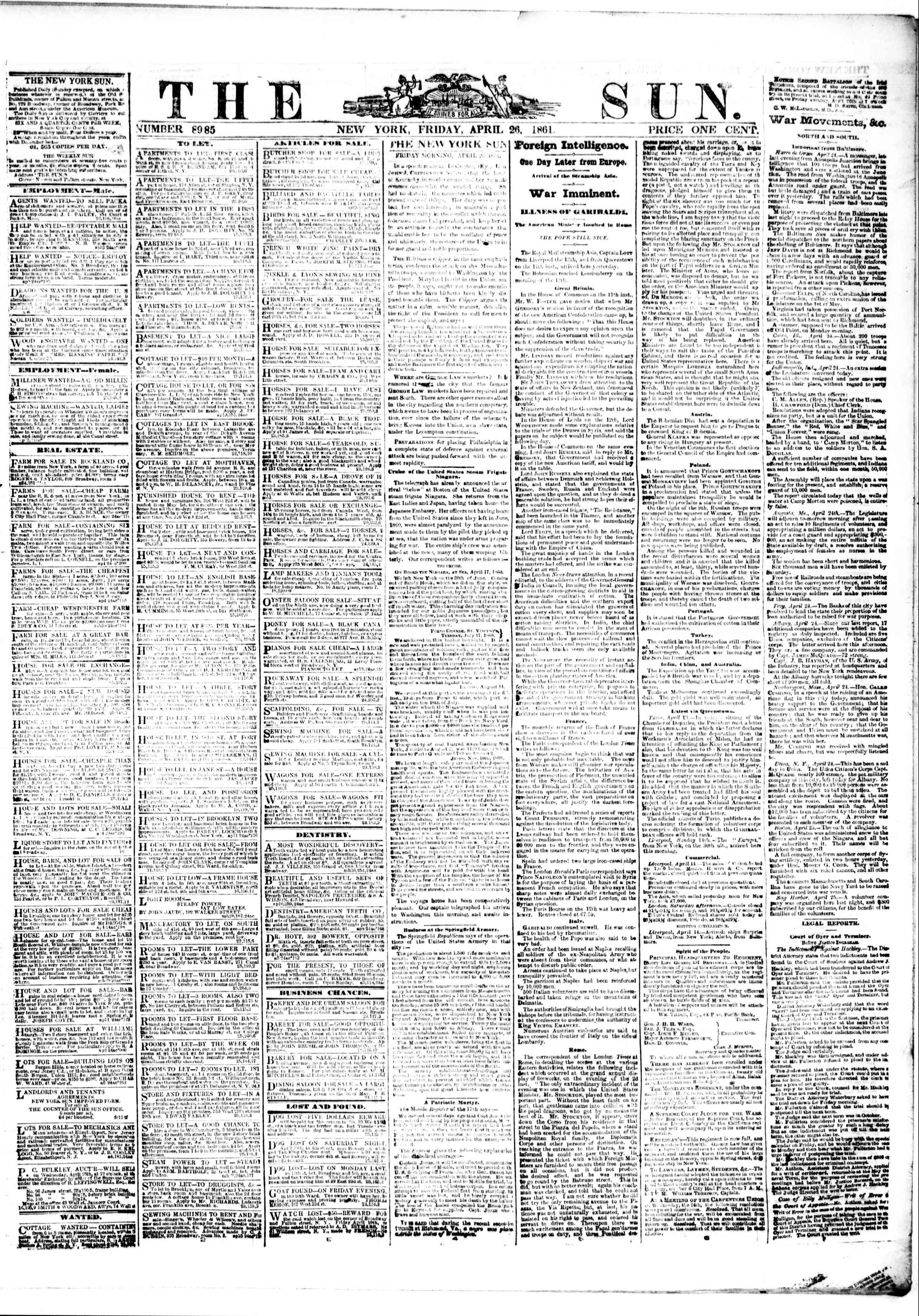 Newspaper of The Sun dated April 26, 1861 Page 1