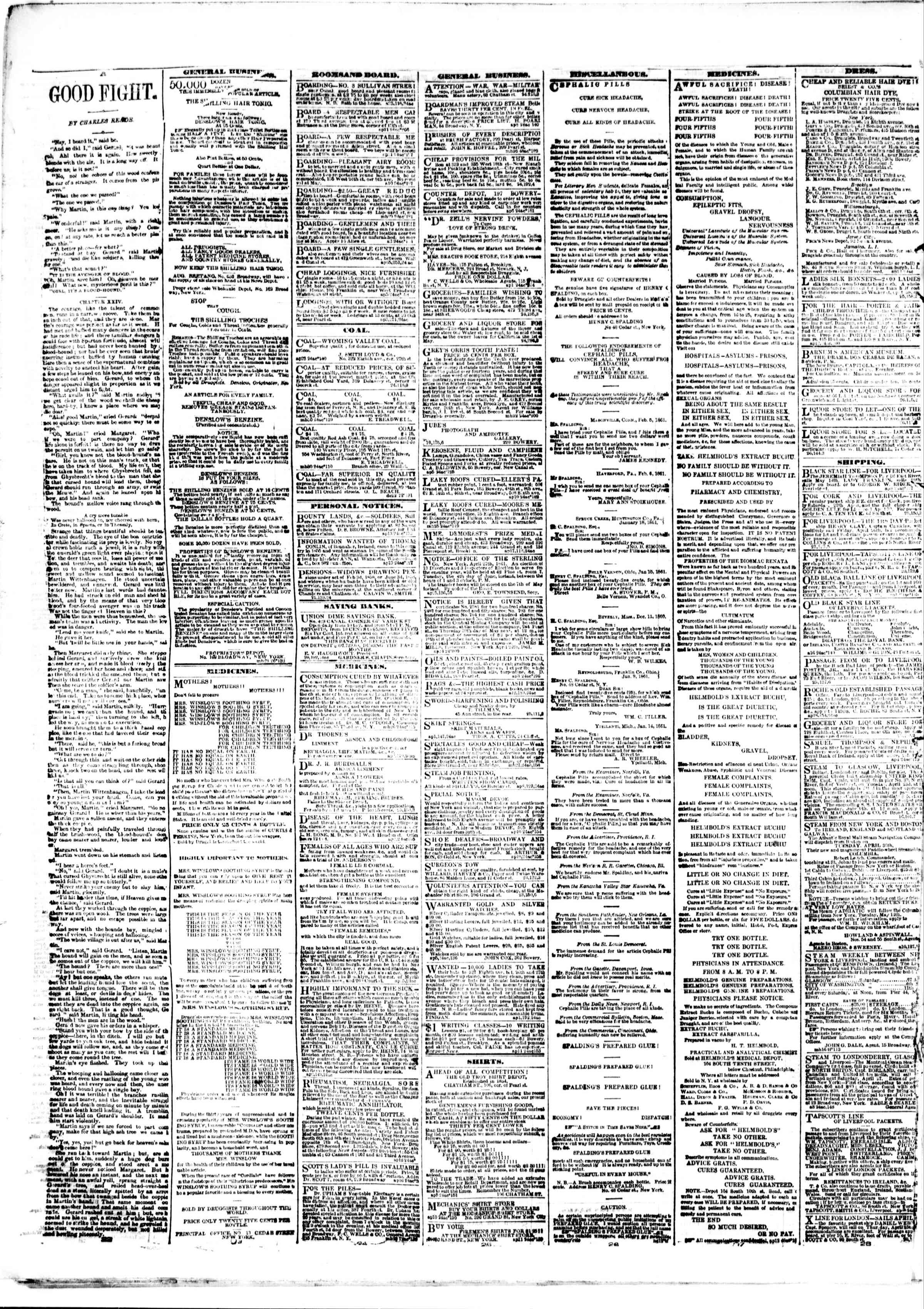 Newspaper of The Sun dated April 26, 1861 Page 4