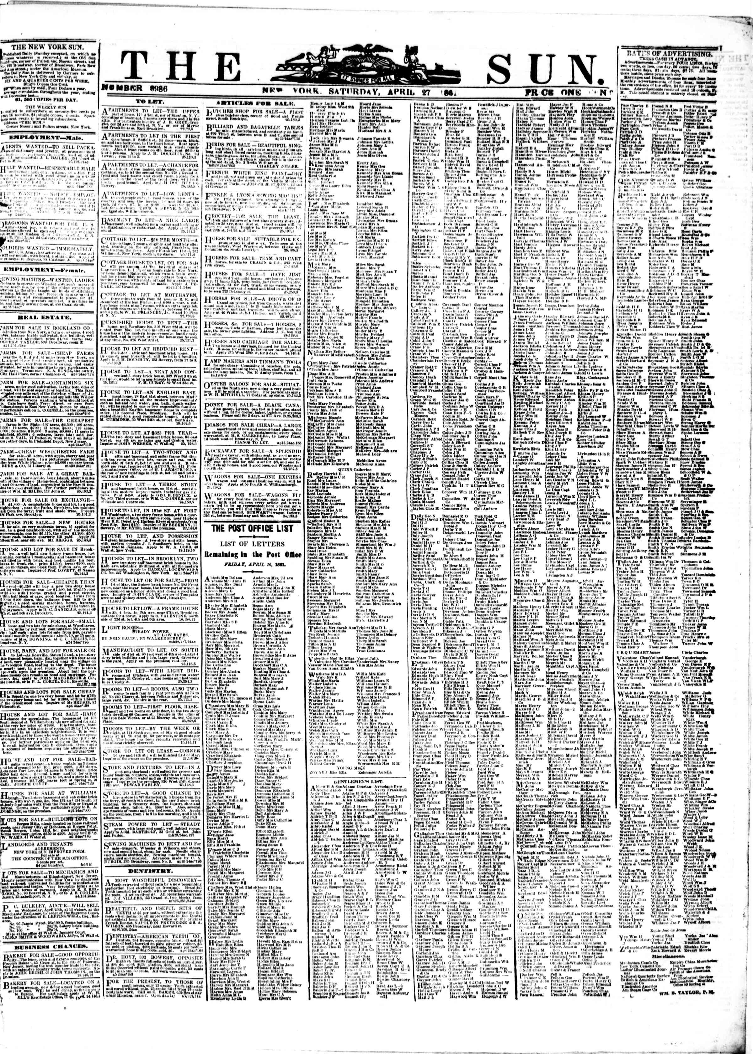 Newspaper of The Sun dated April 27, 1861 Page 1