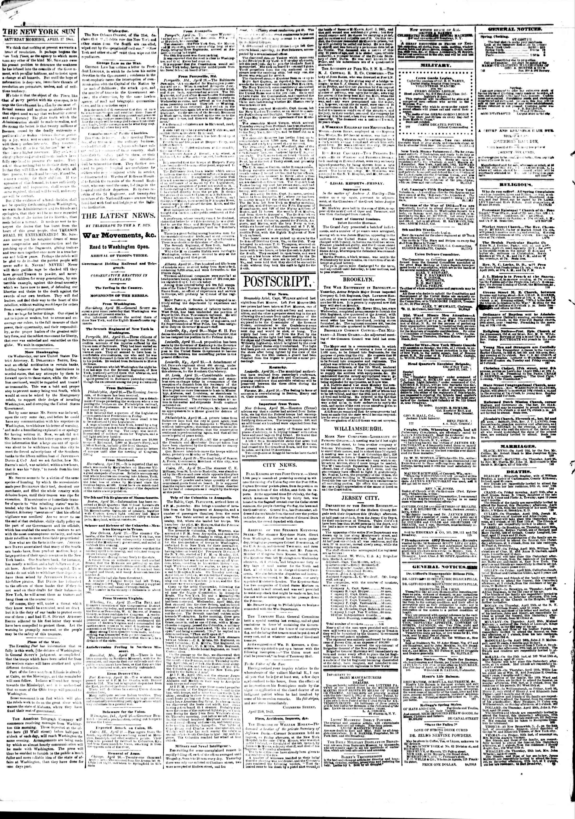 Newspaper of The Sun dated April 27, 1861 Page 2