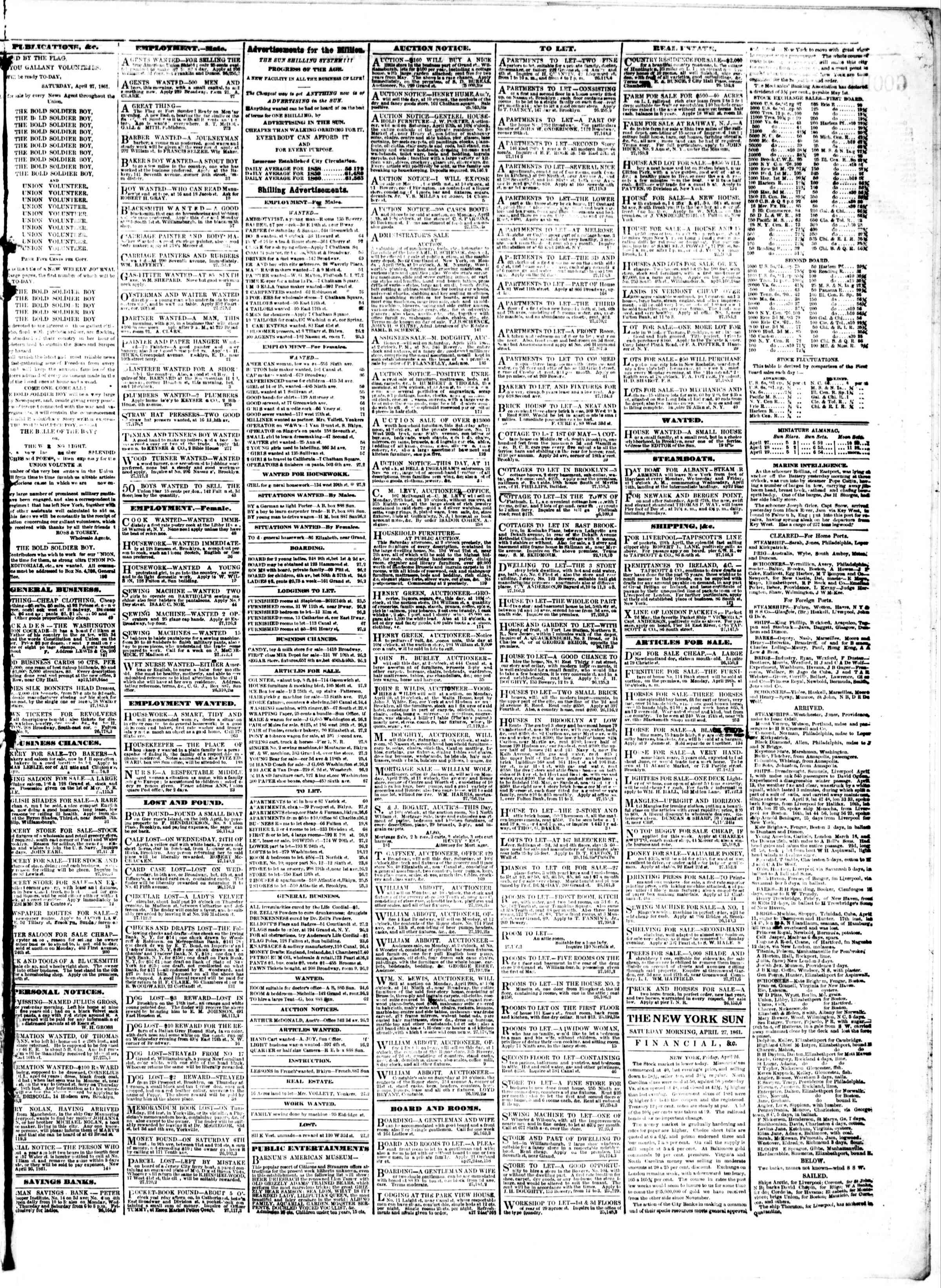 Newspaper of The Sun dated April 27, 1861 Page 3
