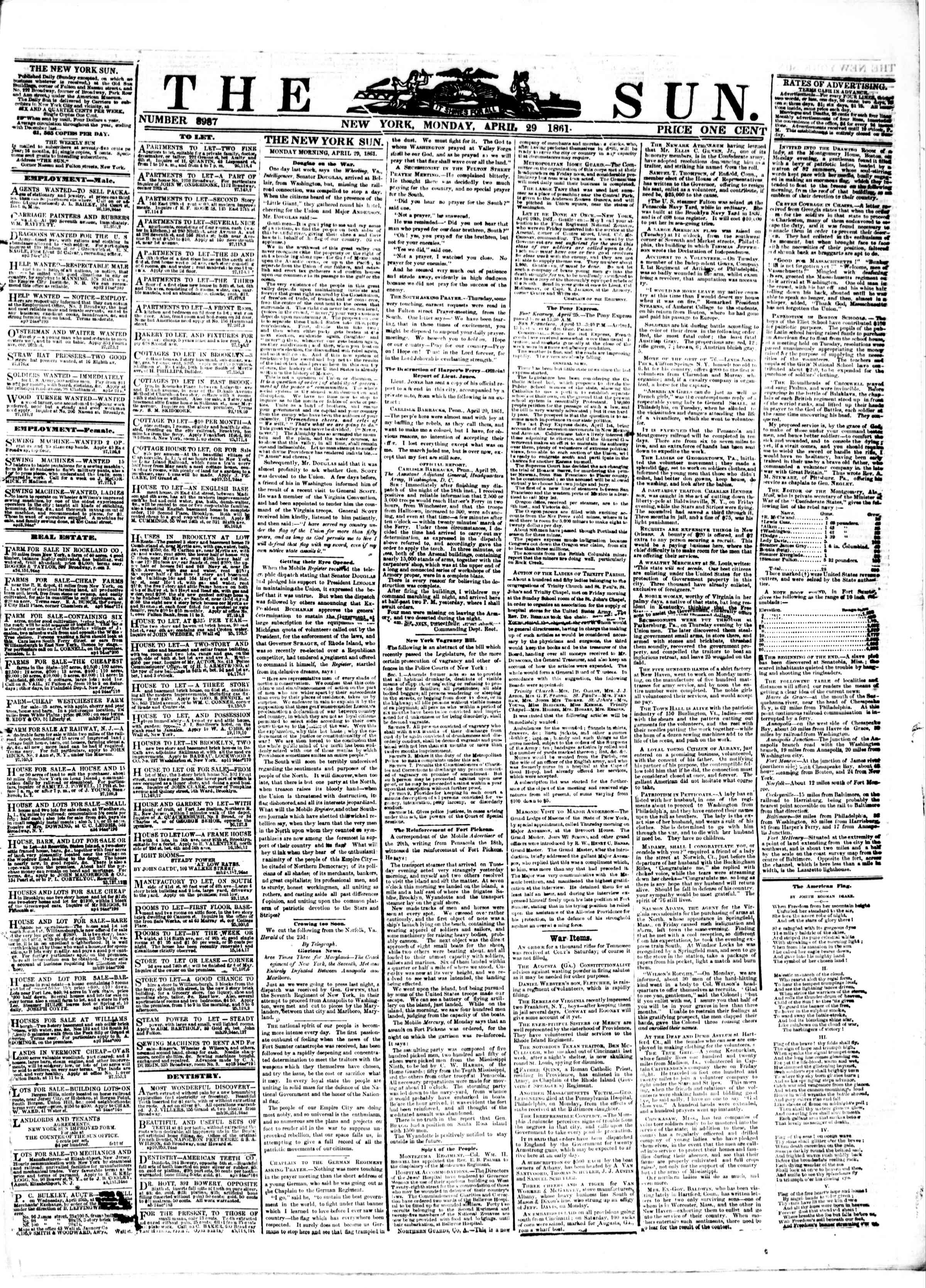 Newspaper of The Sun dated April 29, 1861 Page 1