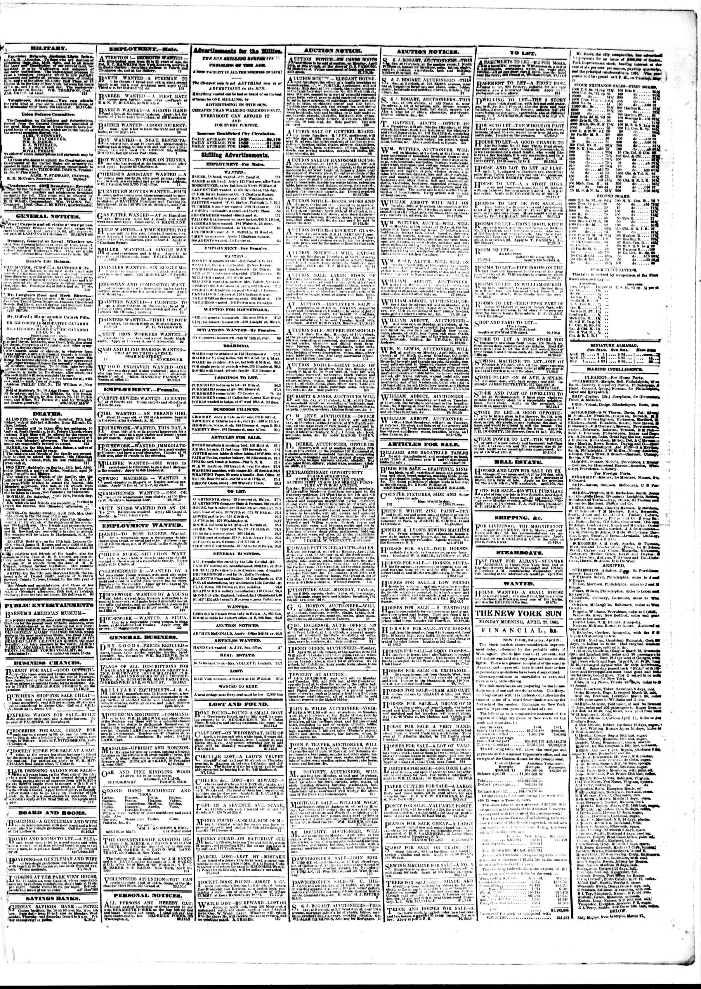 Newspaper of The Sun dated April 29, 1861 Page 3