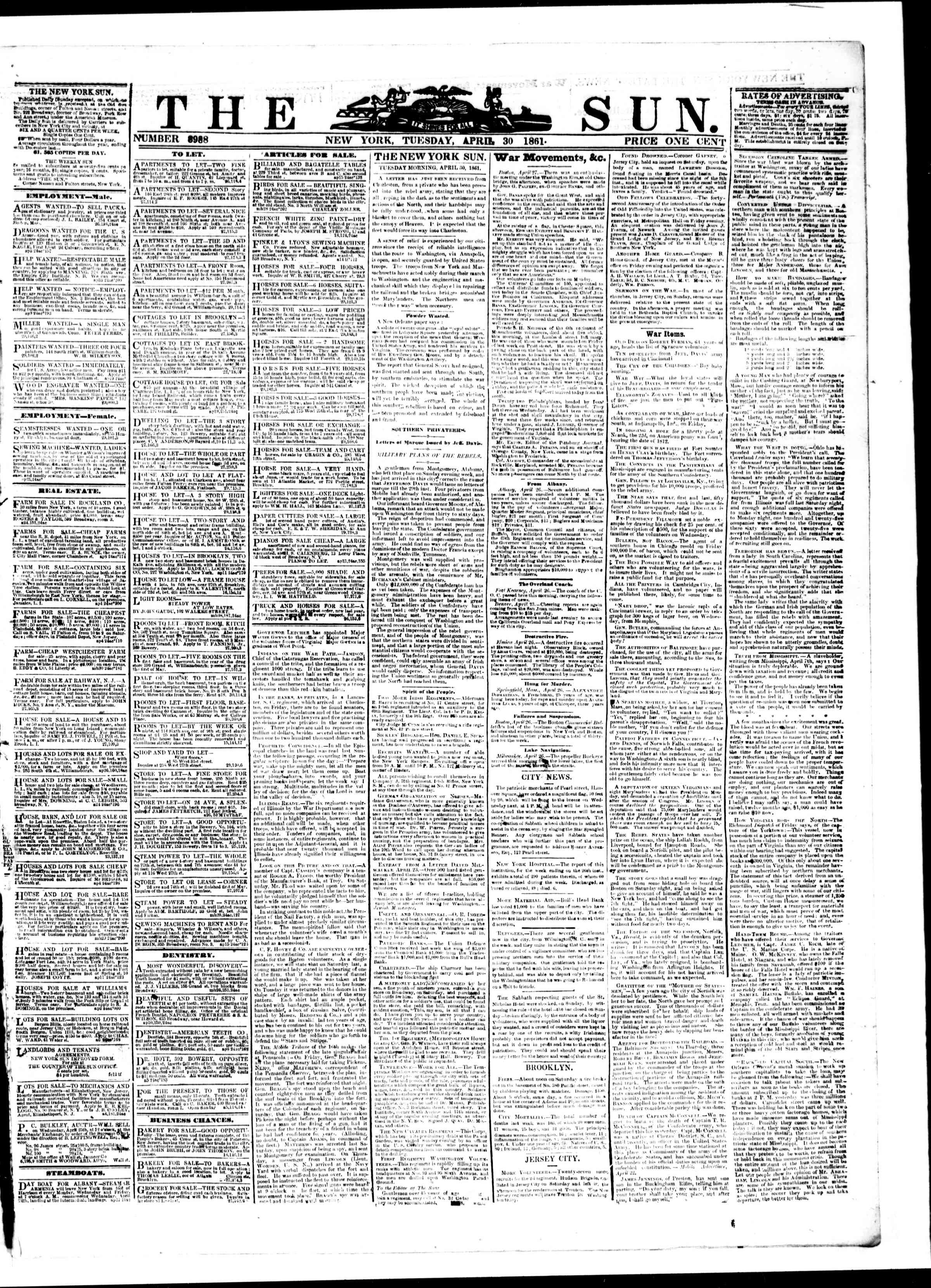 Newspaper of The Sun dated April 30, 1861 Page 1