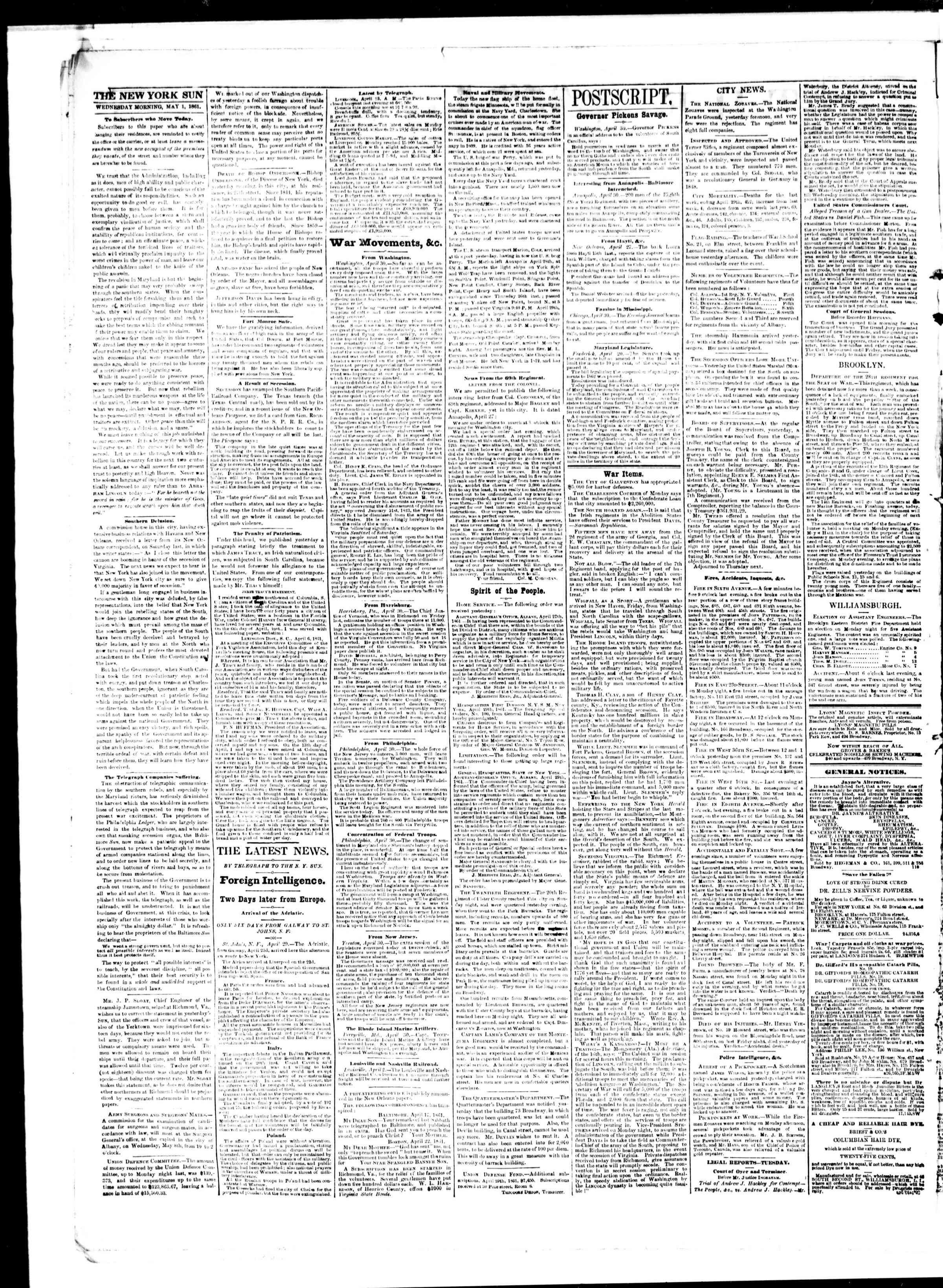 Newspaper of The Sun dated May 1, 1861 Page 2