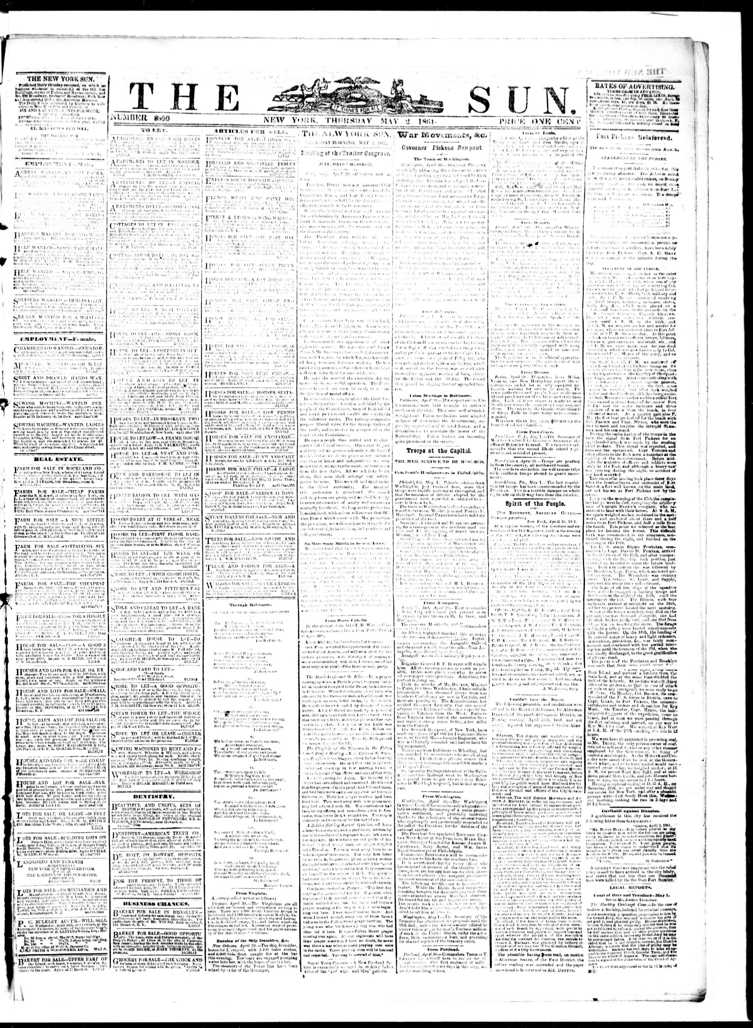 Newspaper of The Sun dated May 2, 1861 Page 1