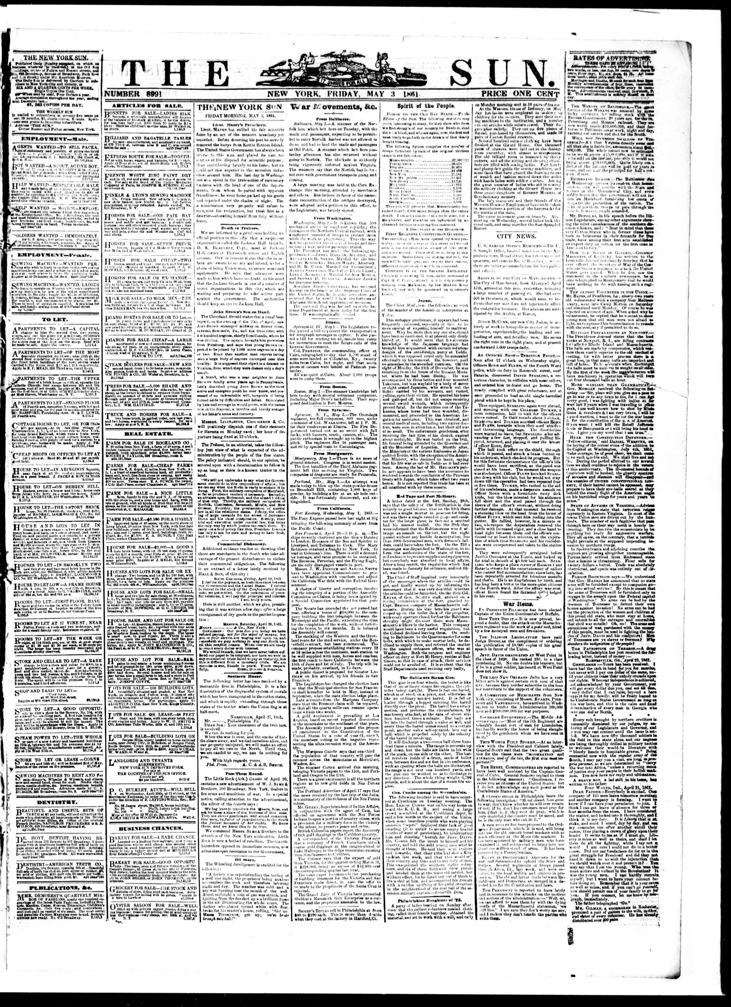 Newspaper of The Sun dated May 3, 1861 Page 1