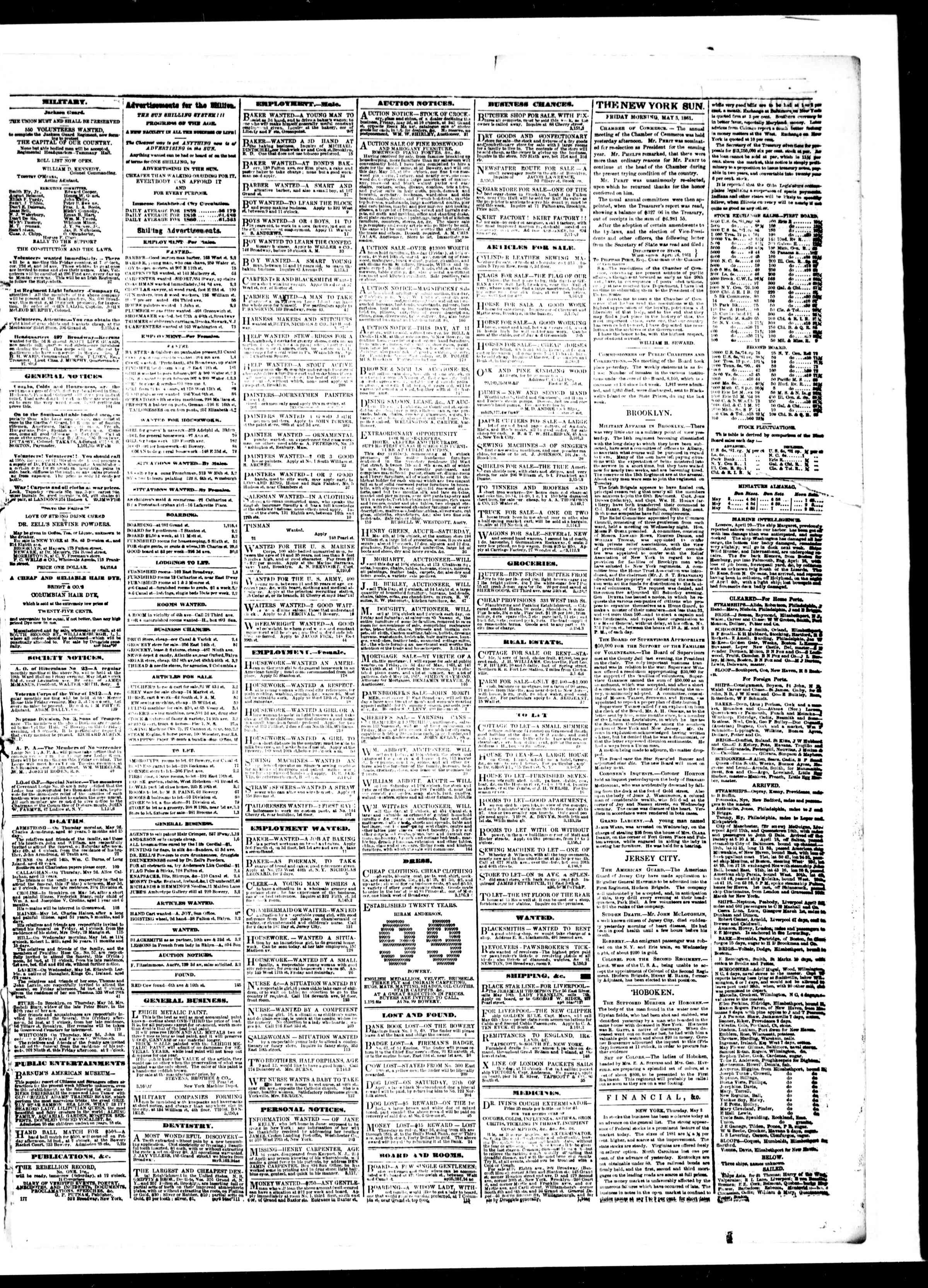 Newspaper of The Sun dated May 3, 1861 Page 3