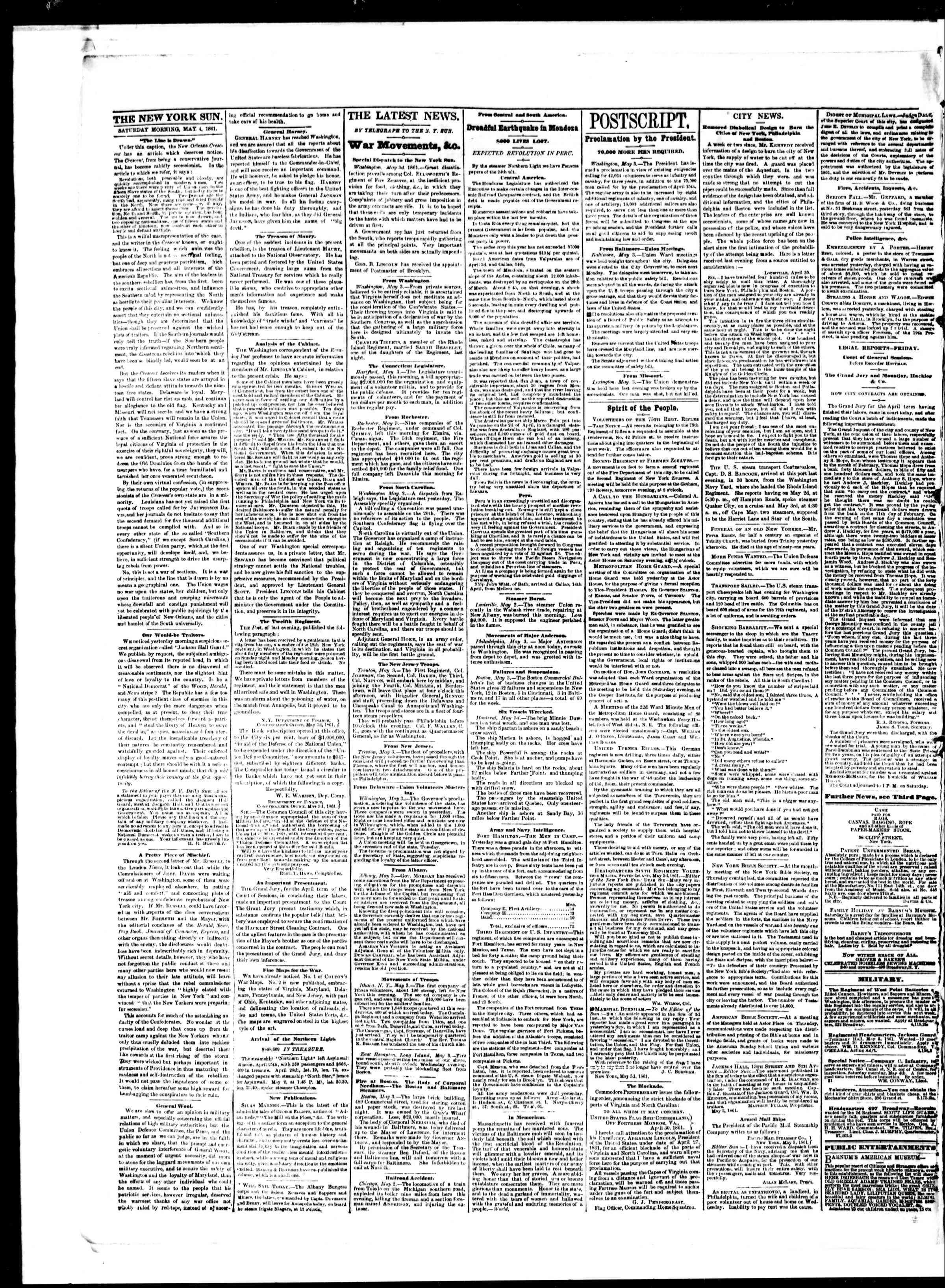 Newspaper of The Sun dated May 4, 1861 Page 2