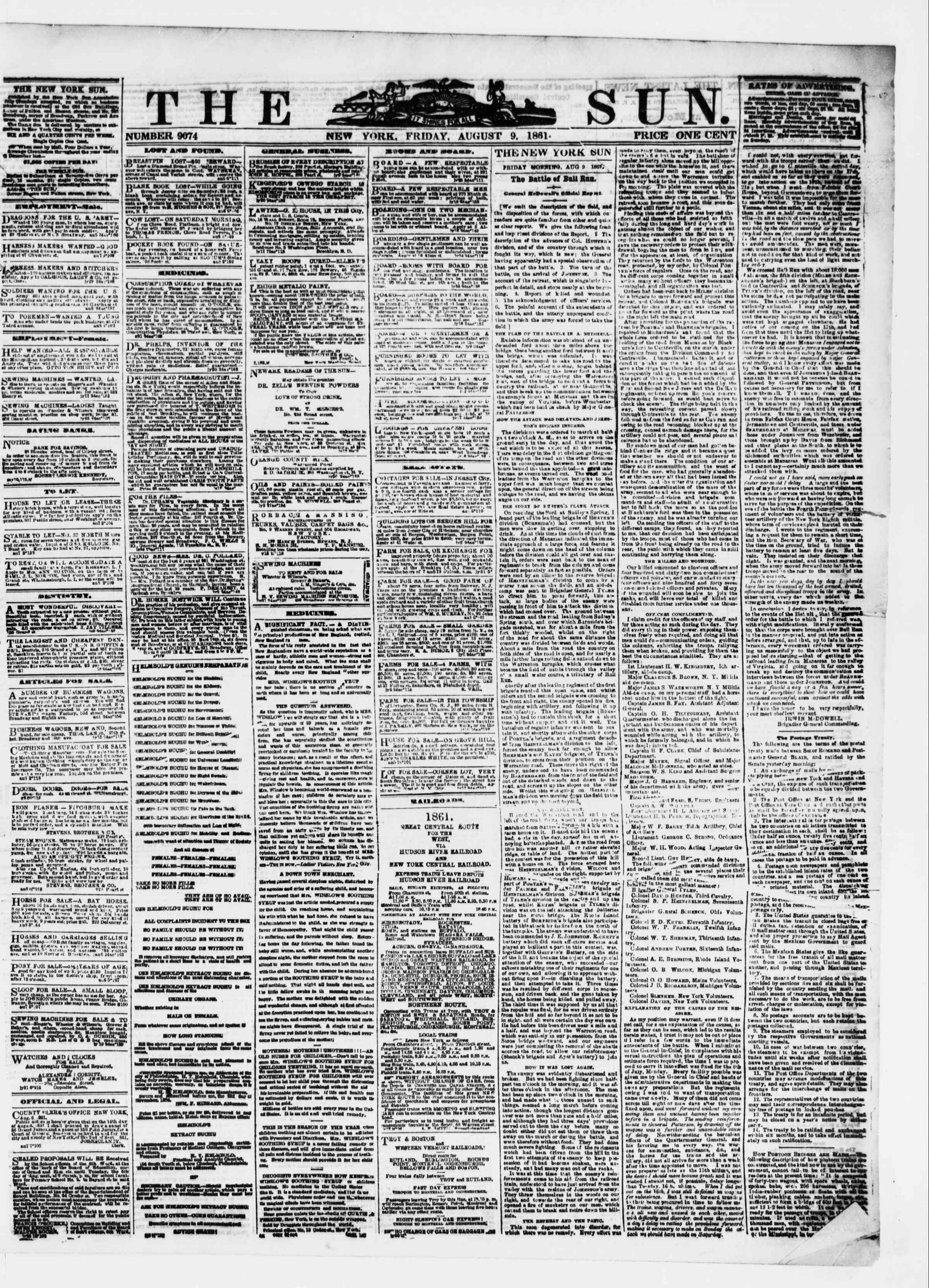 Newspaper of The Sun dated August 9, 1861 Page 1