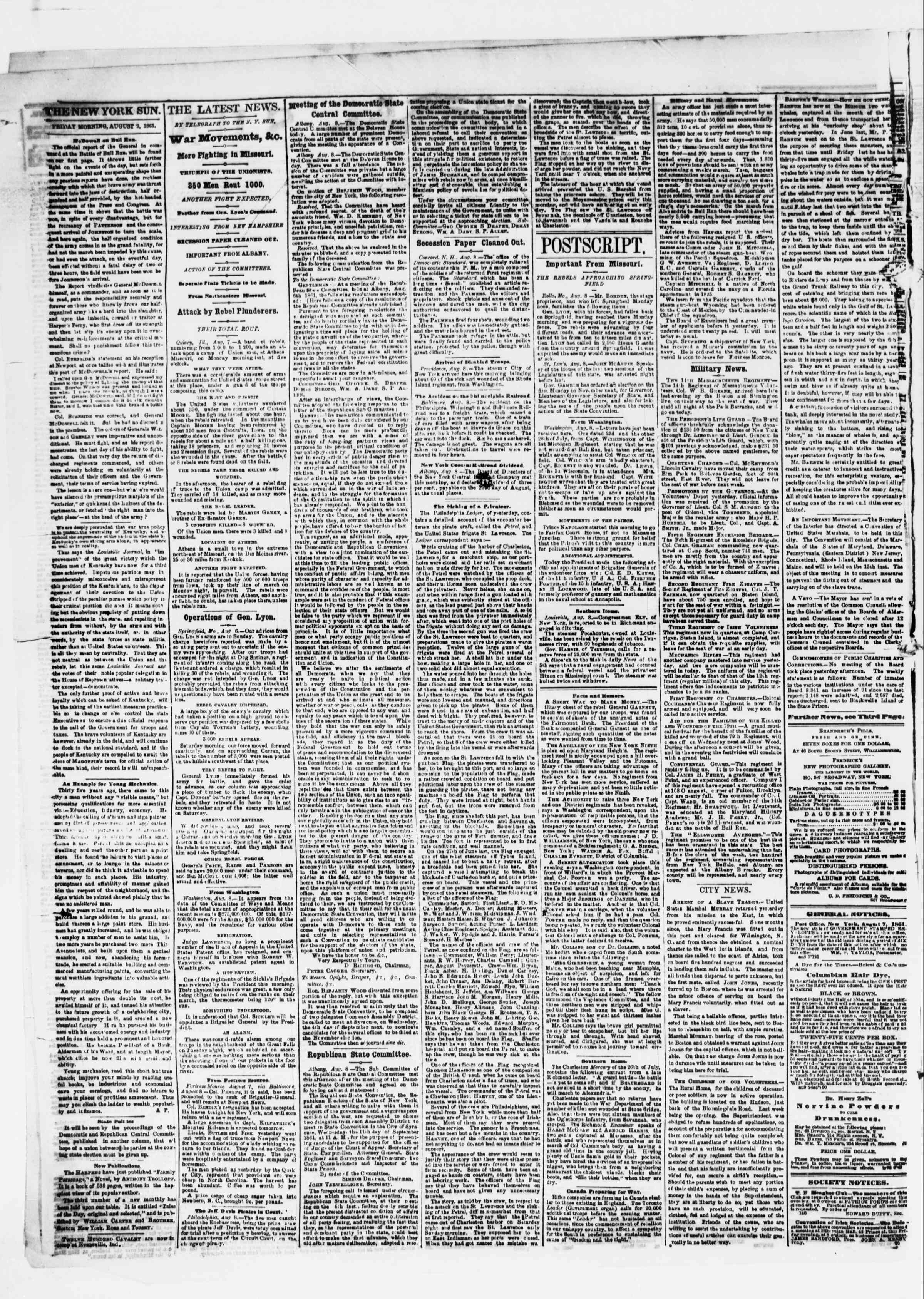 Newspaper of The Sun dated August 9, 1861 Page 2