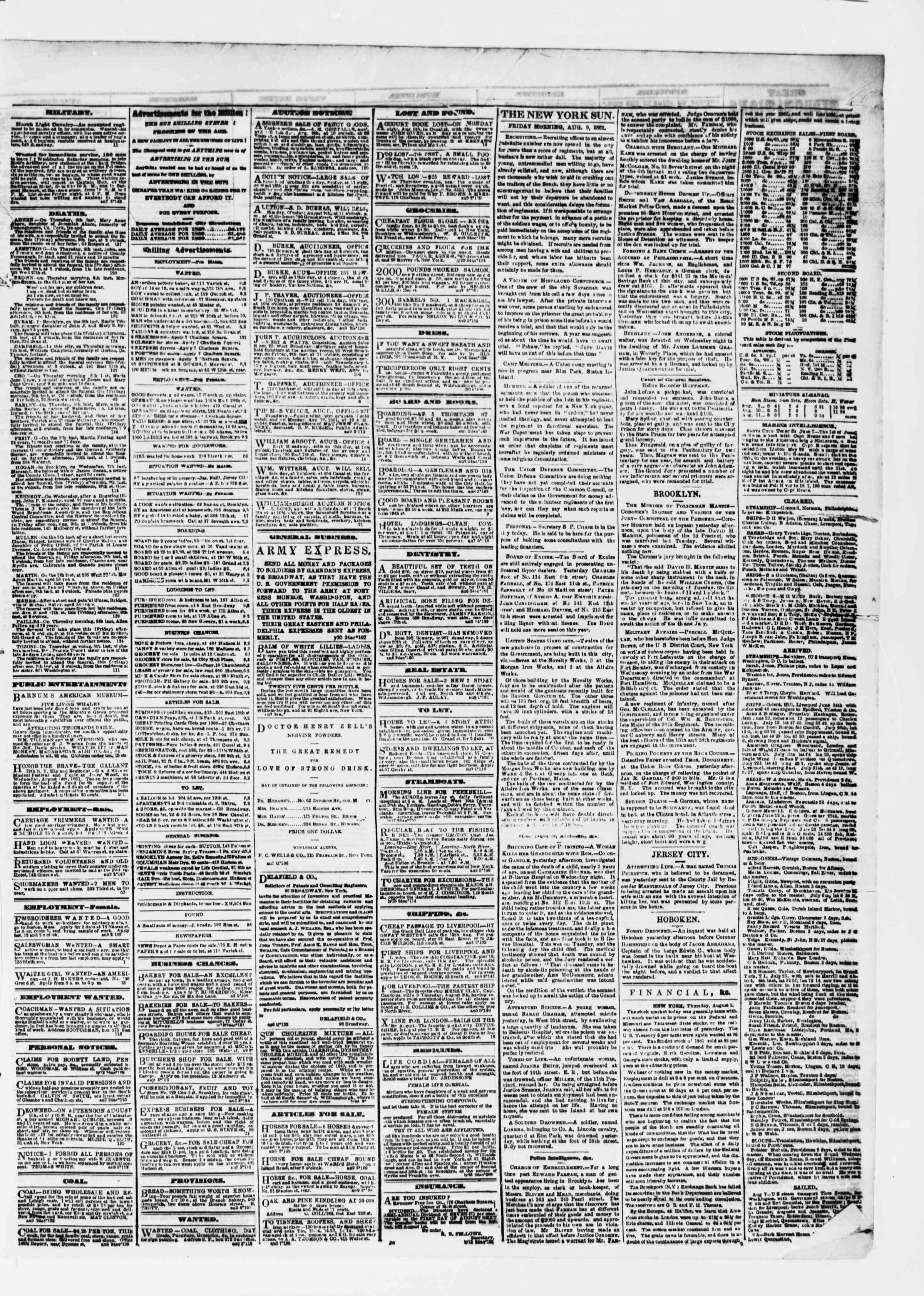 Newspaper of The Sun dated August 9, 1861 Page 3