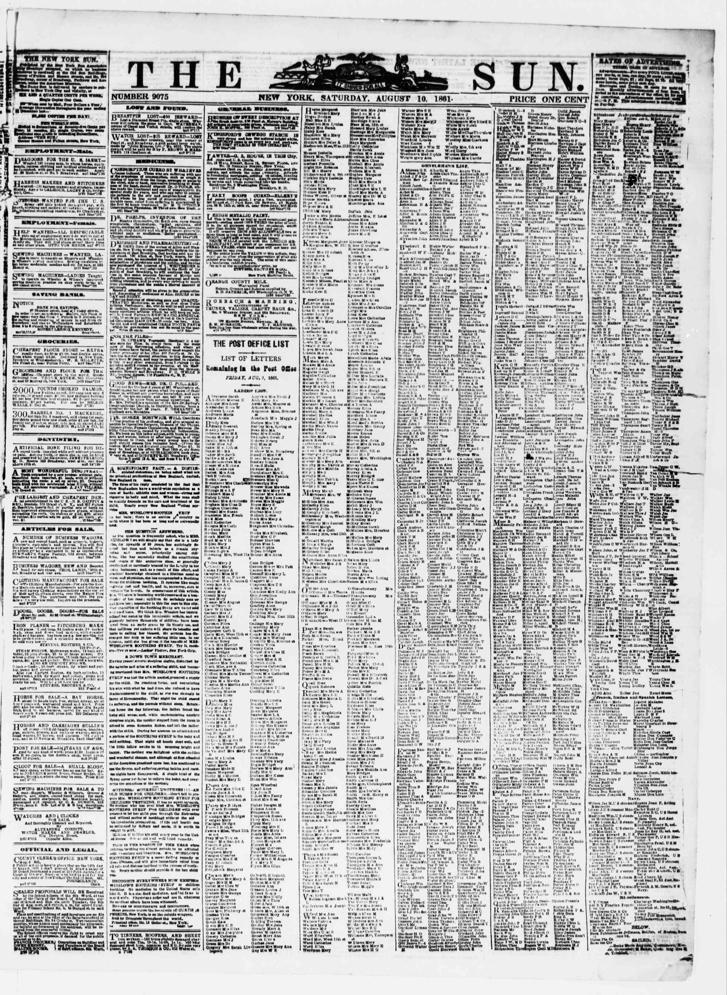 Newspaper of The Sun dated August 10, 1861 Page 1