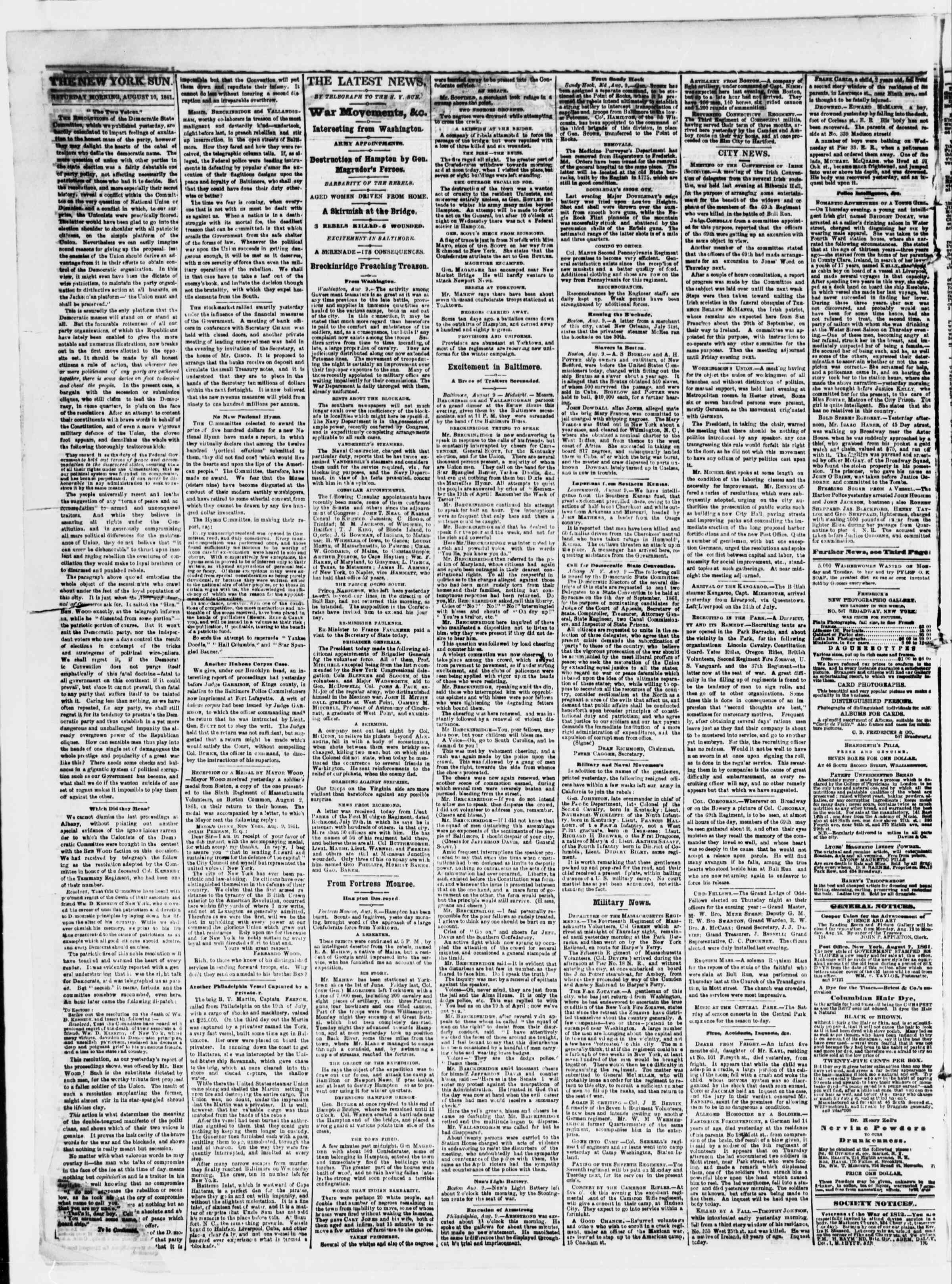 Newspaper of The Sun dated August 10, 1861 Page 2