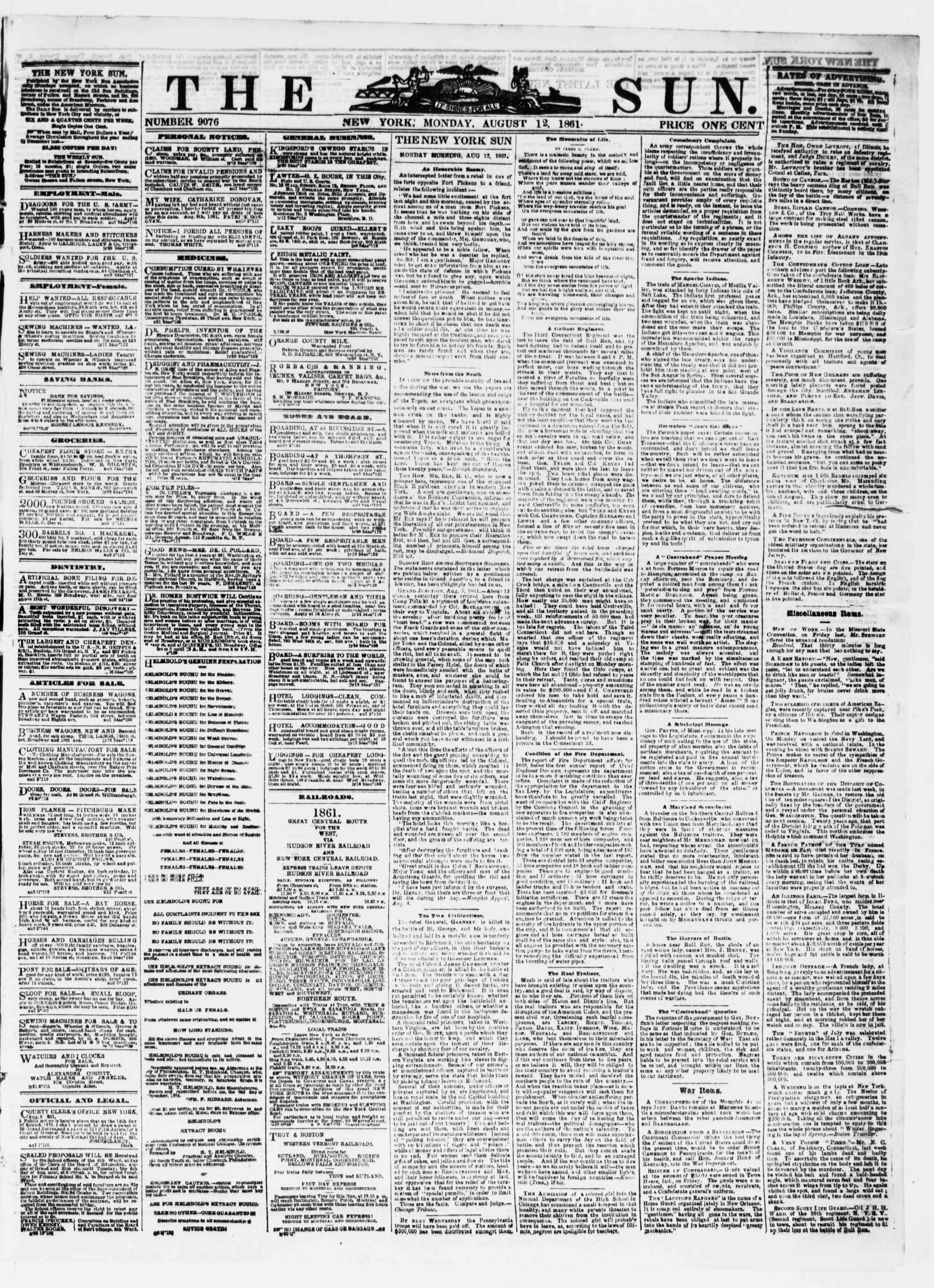 Newspaper of The Sun dated August 12, 1861 Page 1