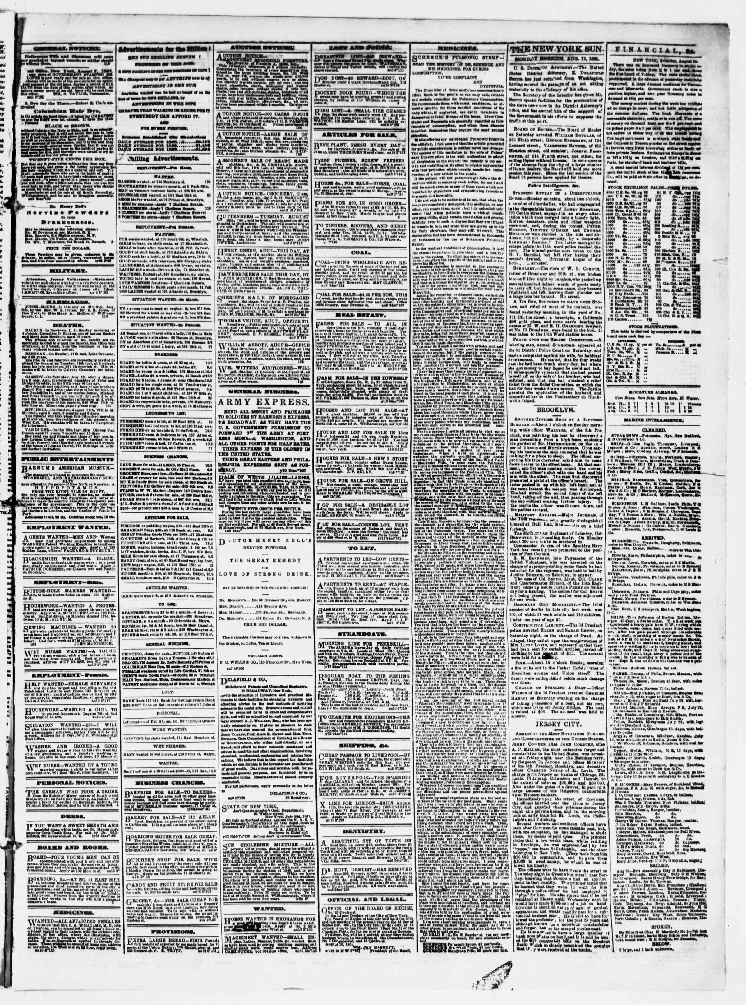 Newspaper of The Sun dated August 12, 1861 Page 3
