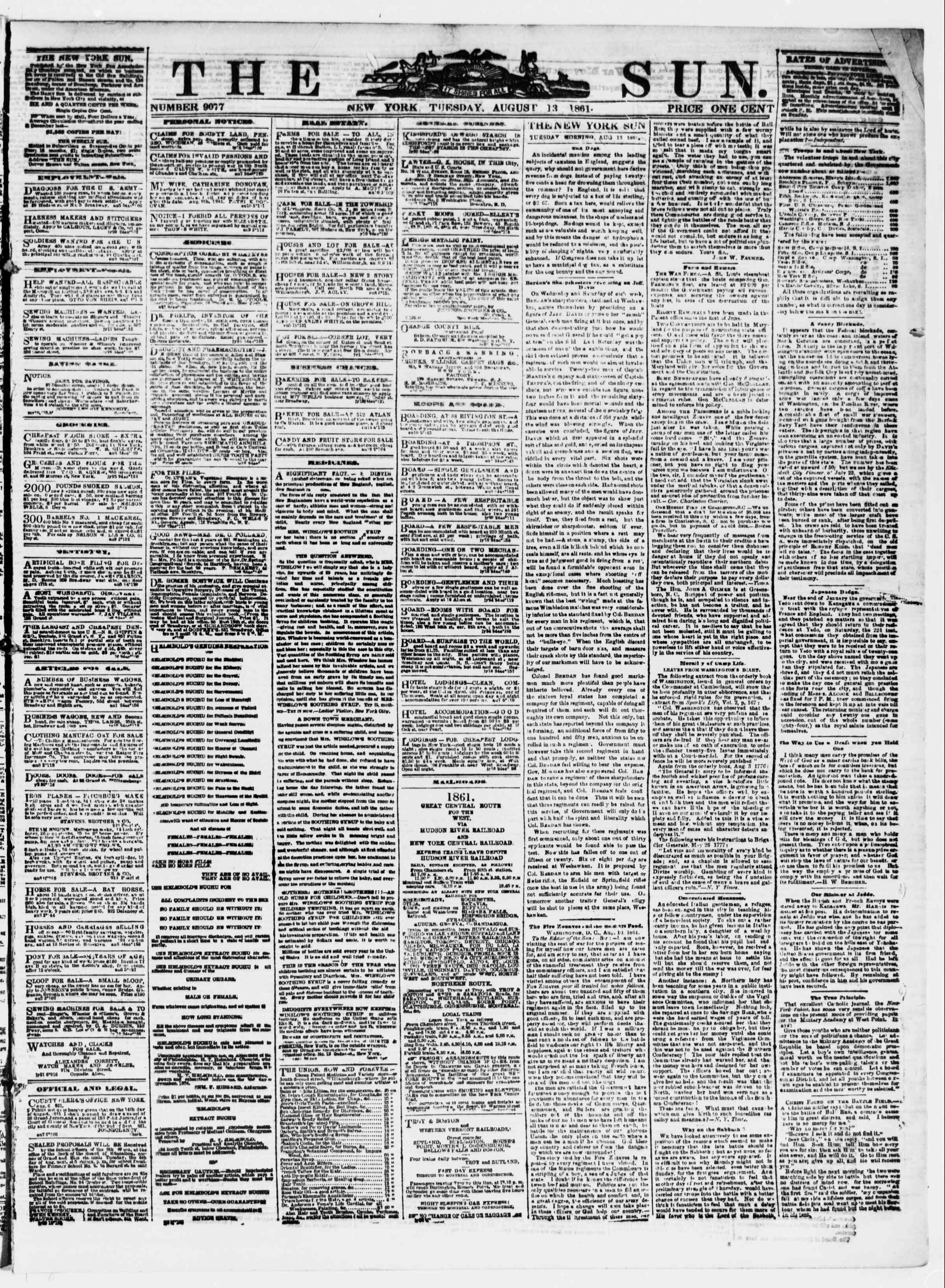 Newspaper of The Sun dated August 13, 1861 Page 1