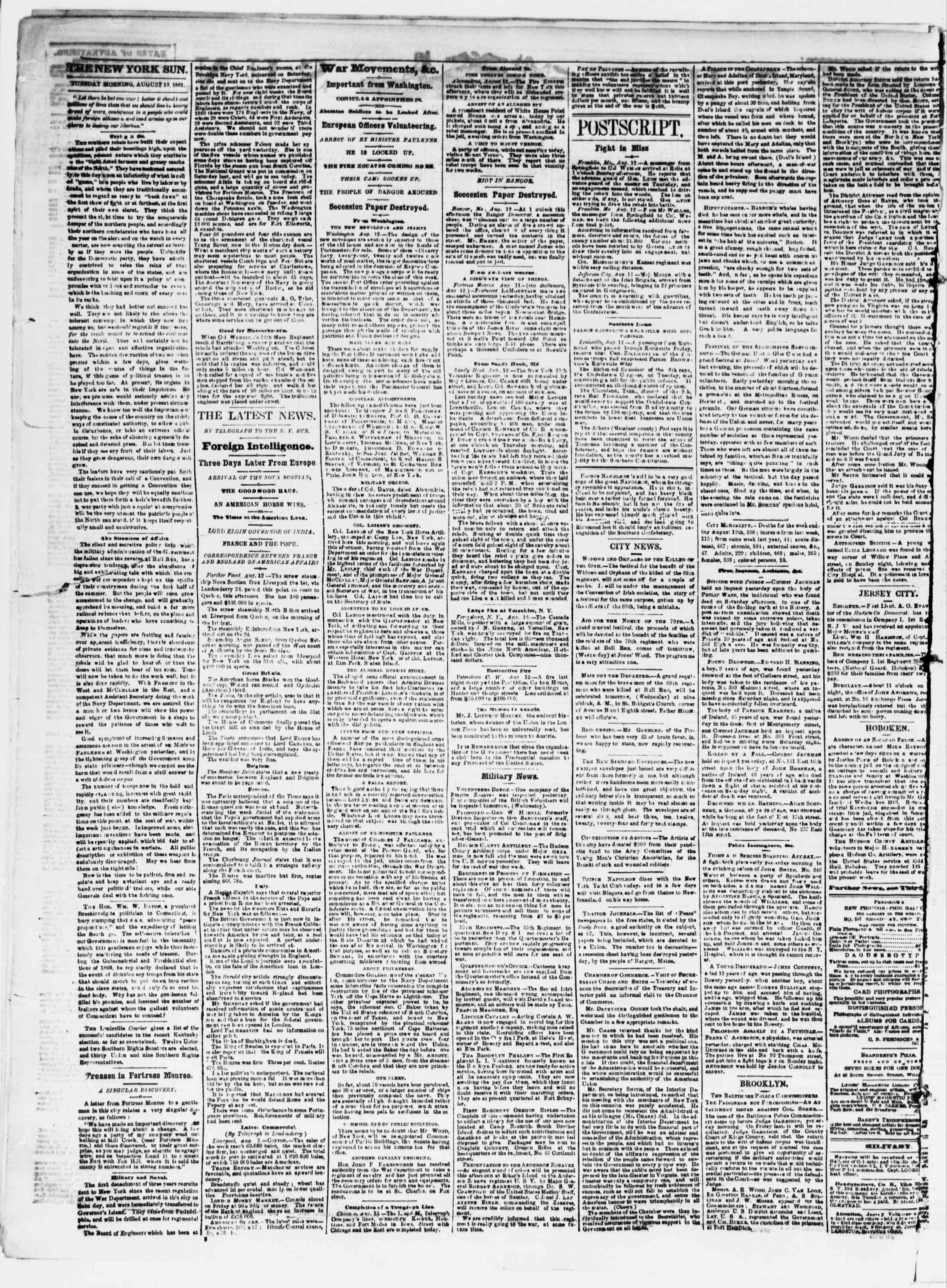 Newspaper of The Sun dated August 13, 1861 Page 2